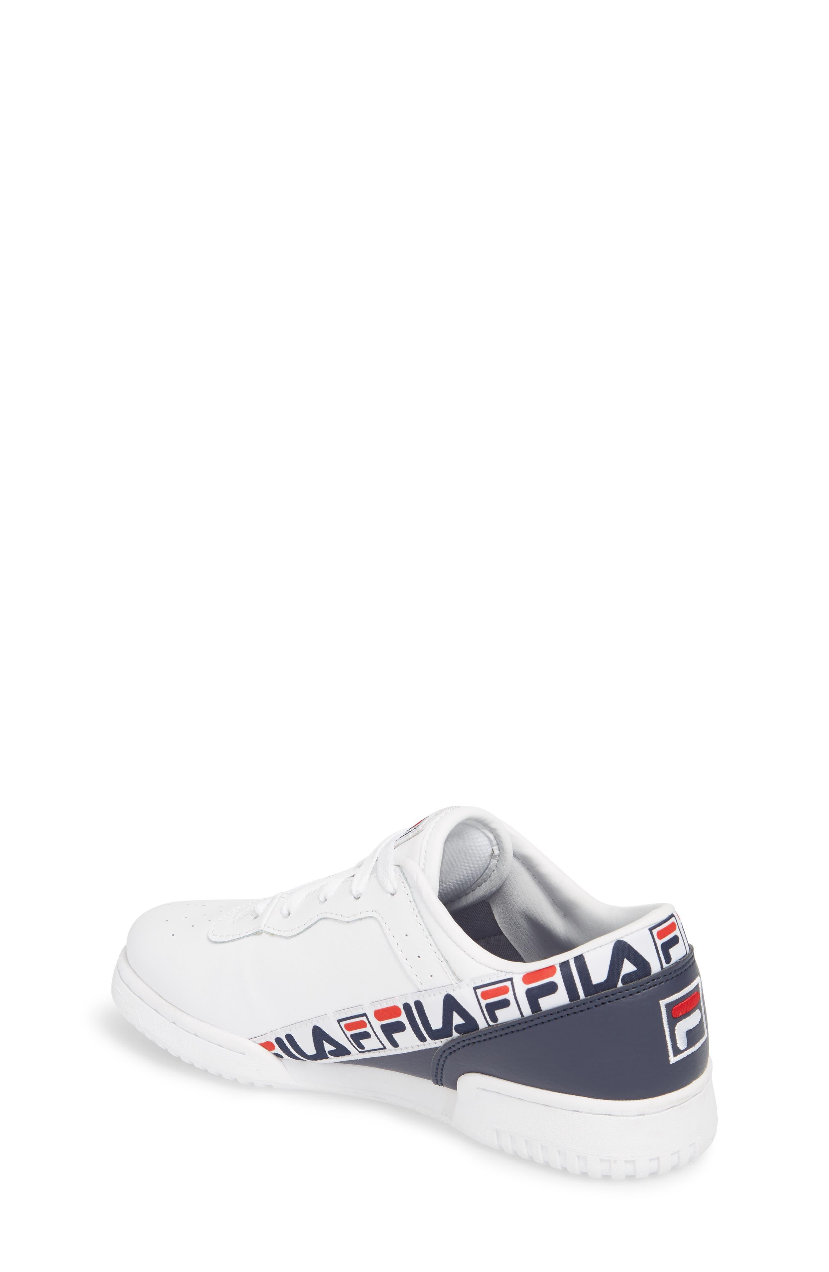 FILA, Original Fitness Logo Tape Sneaker, Alternate thumbnail 2, color, WHITE/ FILA NAVY