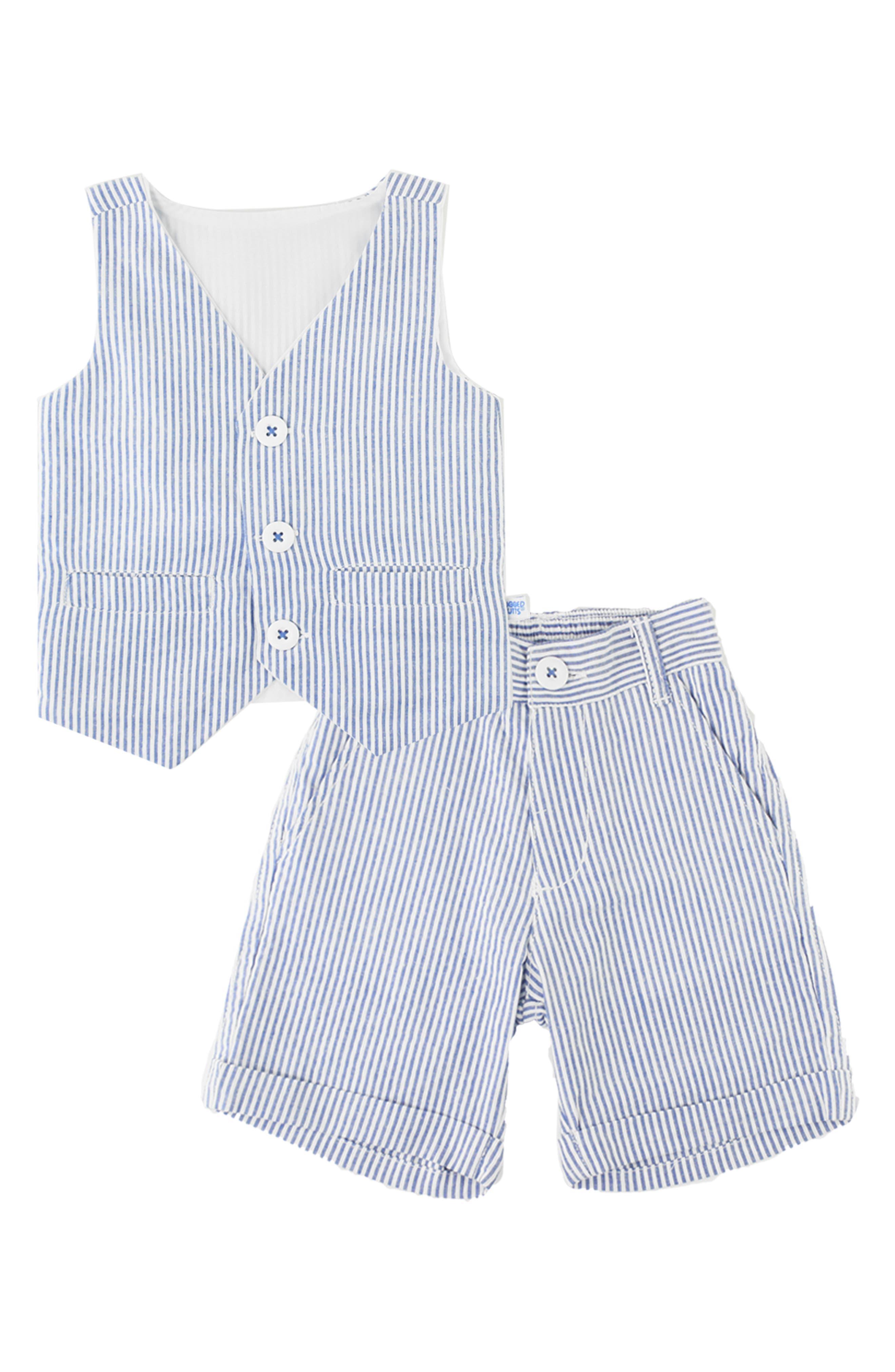 RUGGEDBUTTS, Seersucker Vest & Shorts Set, Main thumbnail 1, color, BLUE