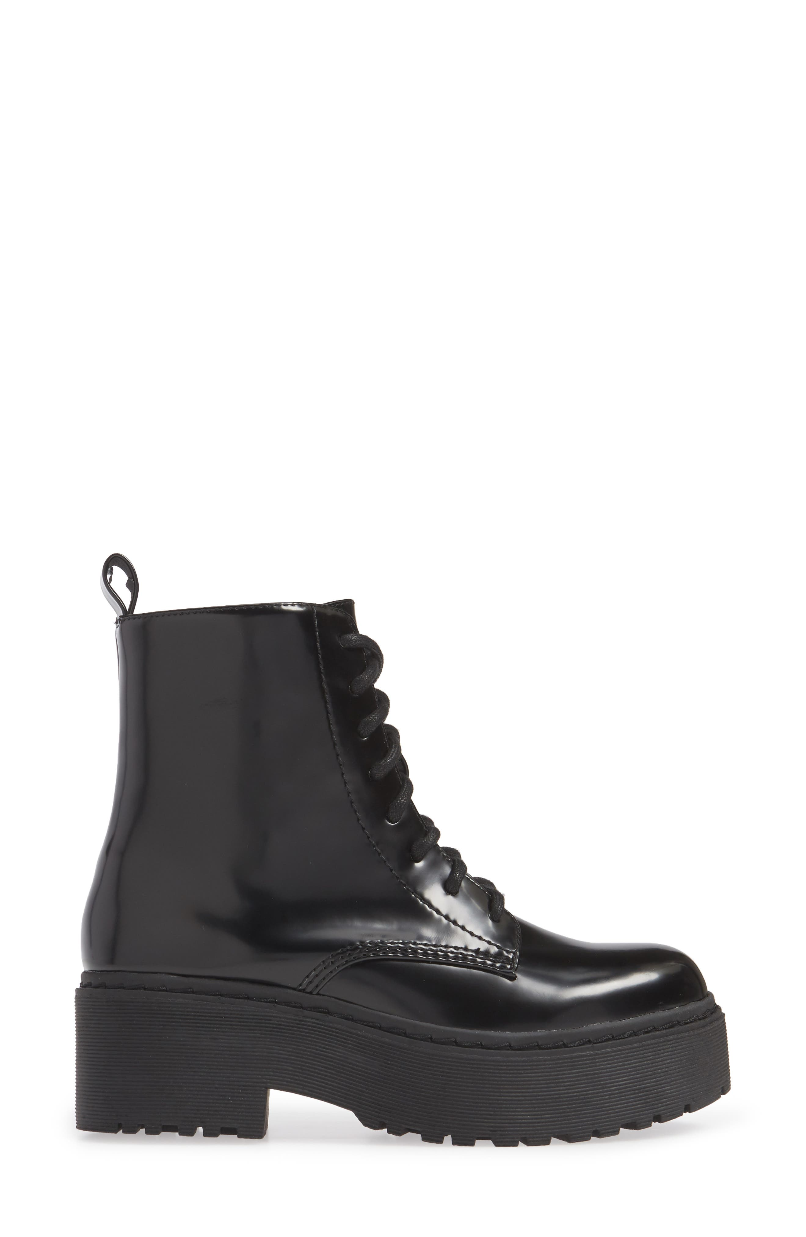 JEFFREY CAMPBELL, District Combat Boot, Alternate thumbnail 3, color, BLACK LEATHER