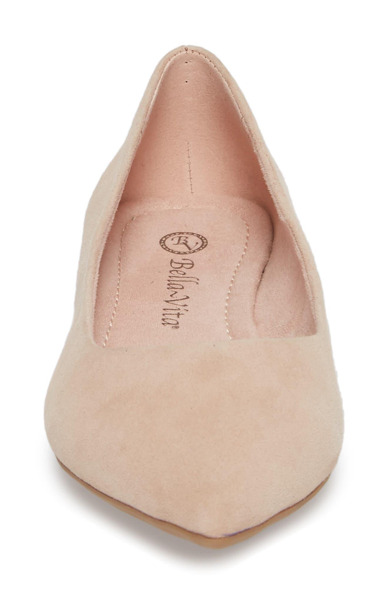 BELLA VITA, 'Vivien' Pointy Toe Flat, Alternate thumbnail 4, color, BLUSH SUEDE