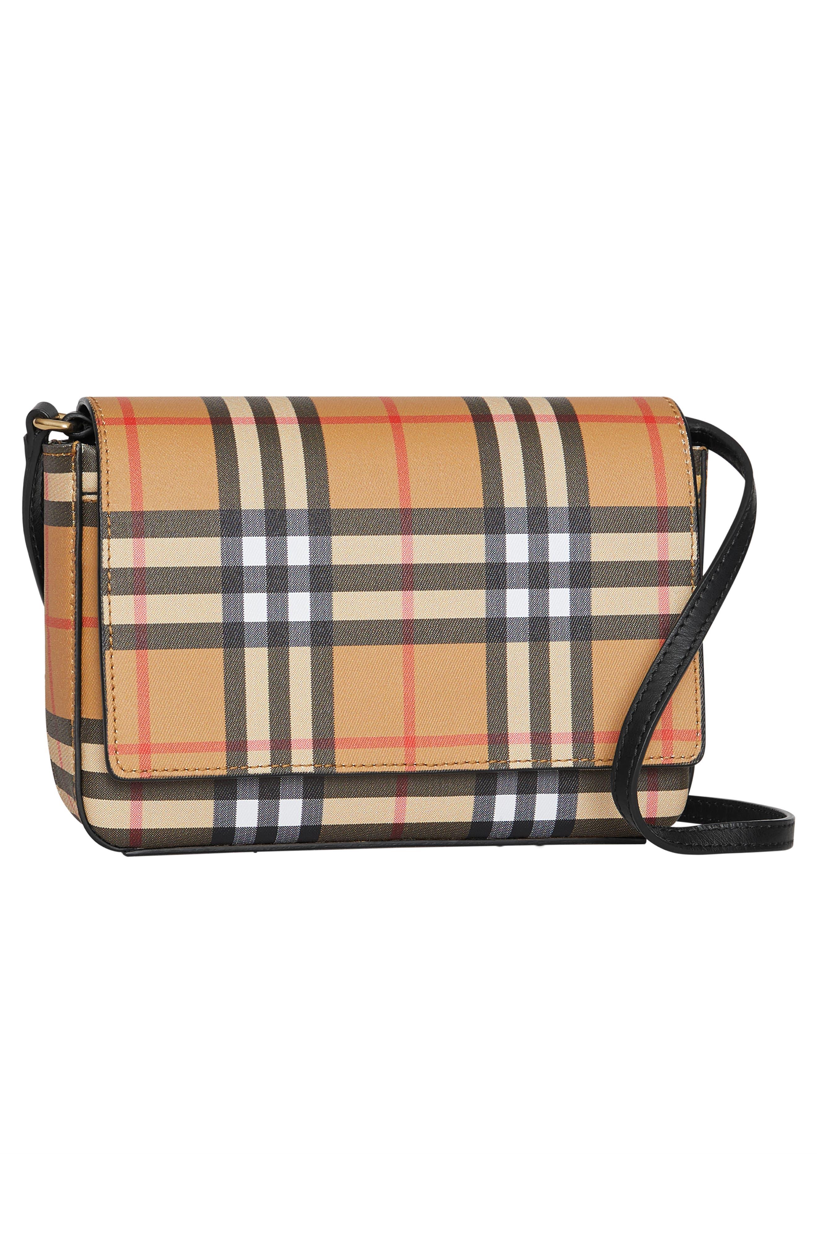 BURBERRY, Hampshire Vintage Check Crossbody Bag, Alternate thumbnail 7, color, BLACK