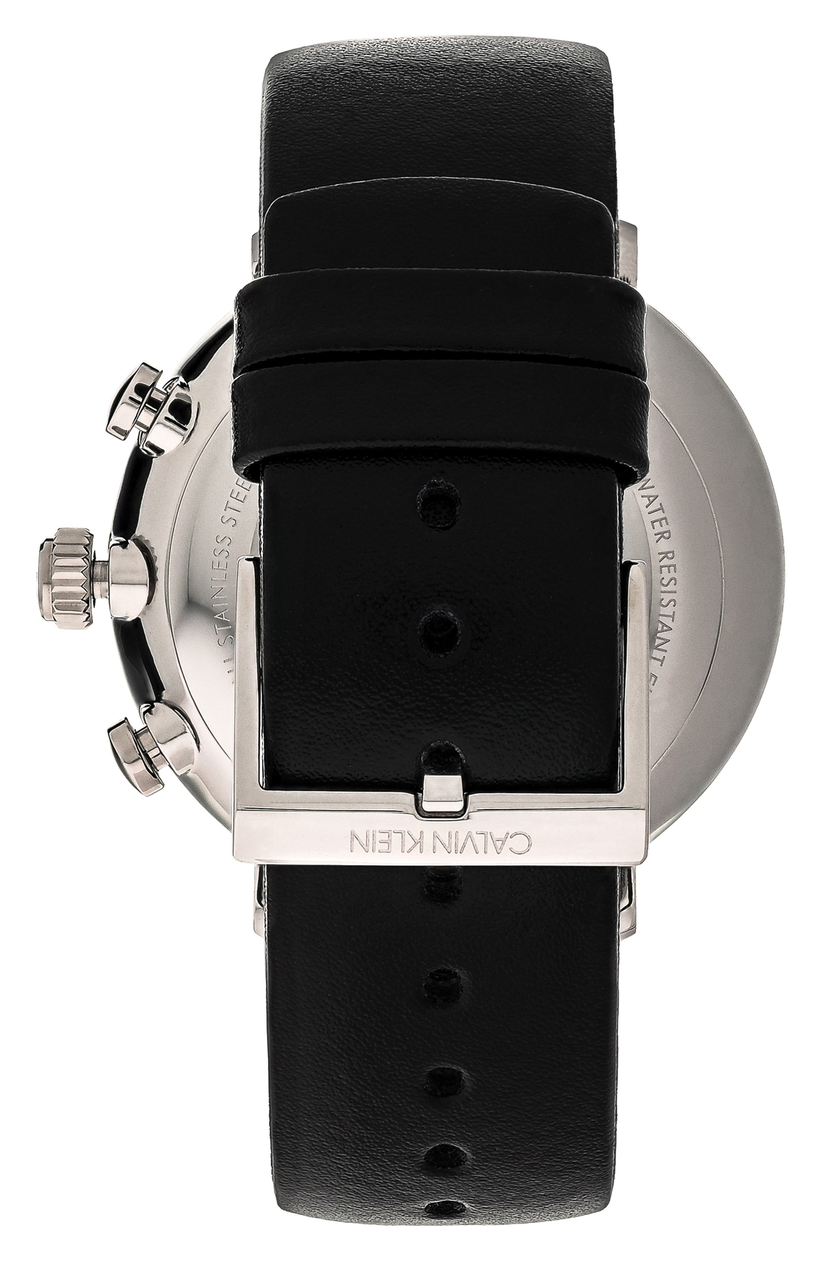 CALVIN KLEIN, High Noon Chronograph Leather Strap Watch, 43mm, Alternate thumbnail 2, color, BLACK/ SILVER/ BLACK