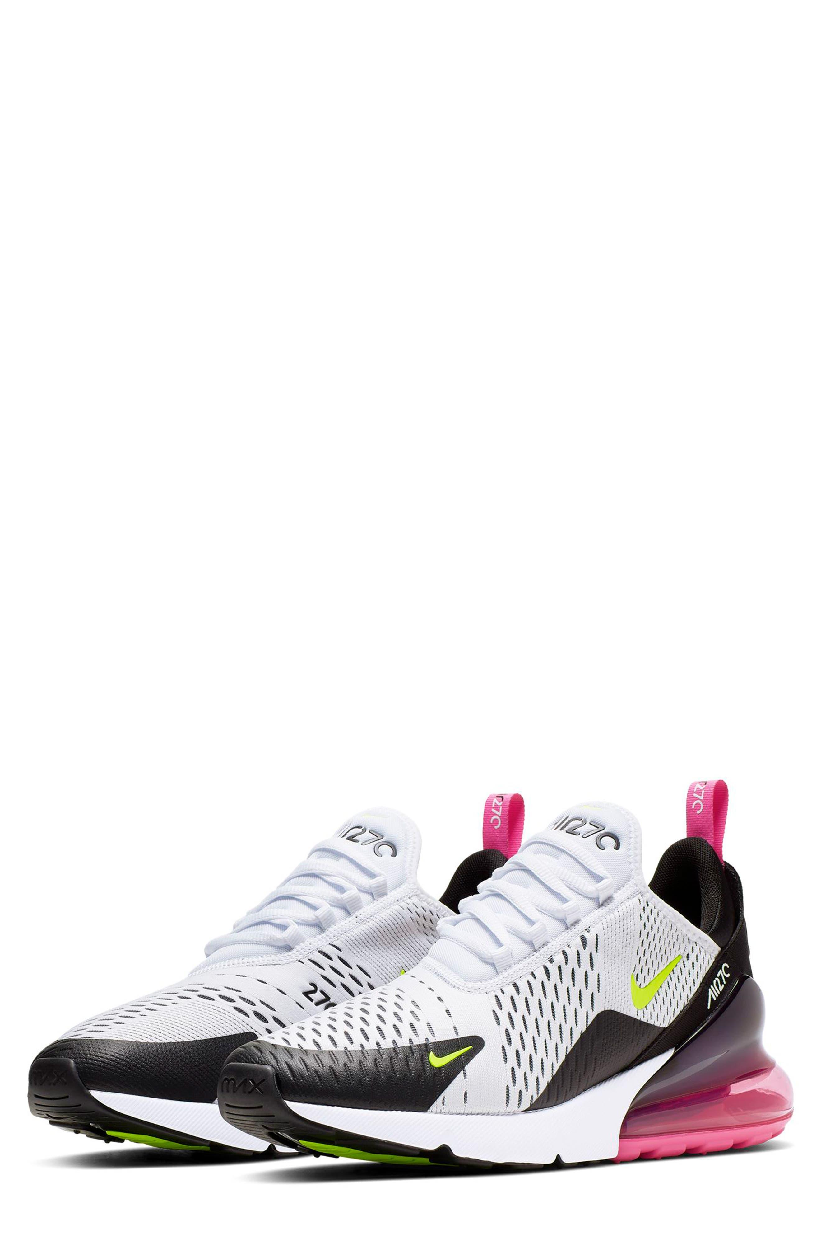 NIKE, Air Max 270 Sneaker, Main thumbnail 1, color, WHITE/ VOLT/ BLACK/ FUCHSIA