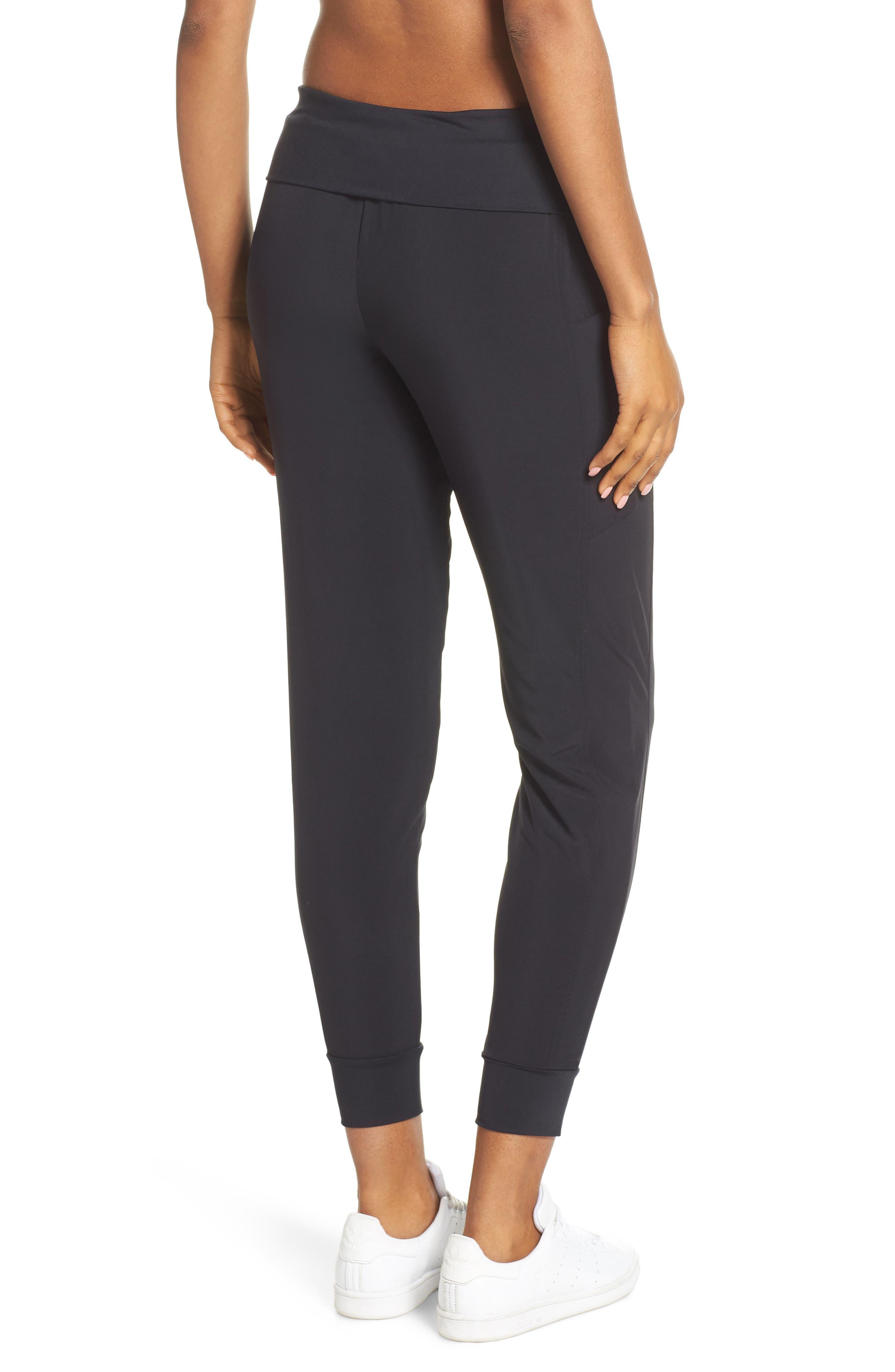 ZELLA, Urban Fold Down Waist Ankle Pants, Alternate thumbnail 4, color, BLACK