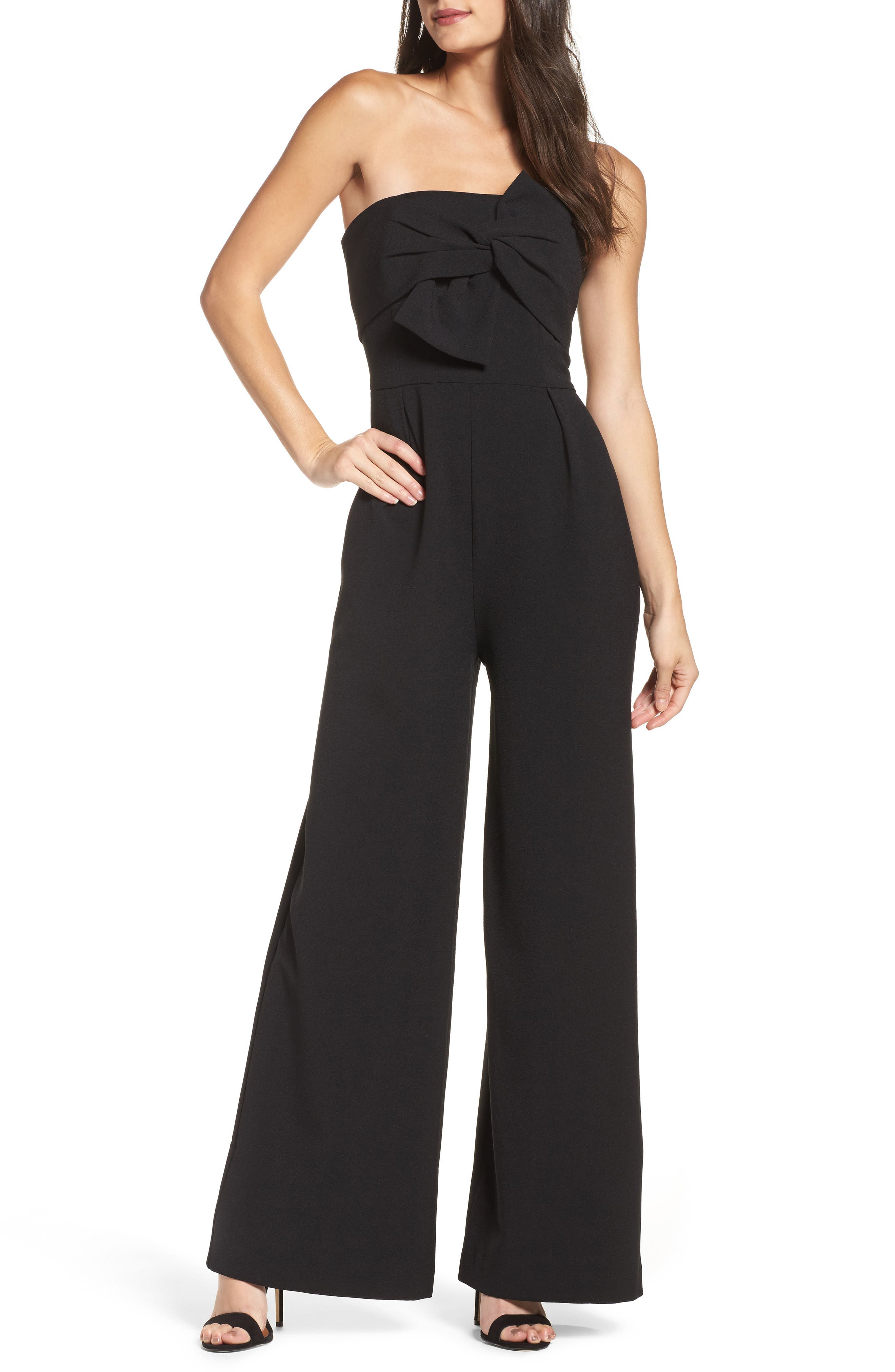 CHELSEA28, Strapless Jumpsuit, Main thumbnail 1, color, BLACK