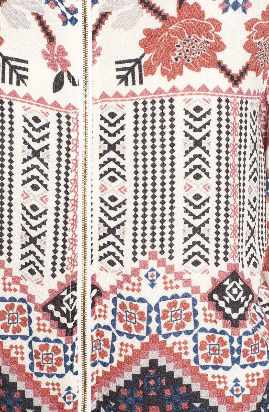 CHLOE & KATIE, Print Bomber Jacket, Alternate thumbnail 5, color, 900