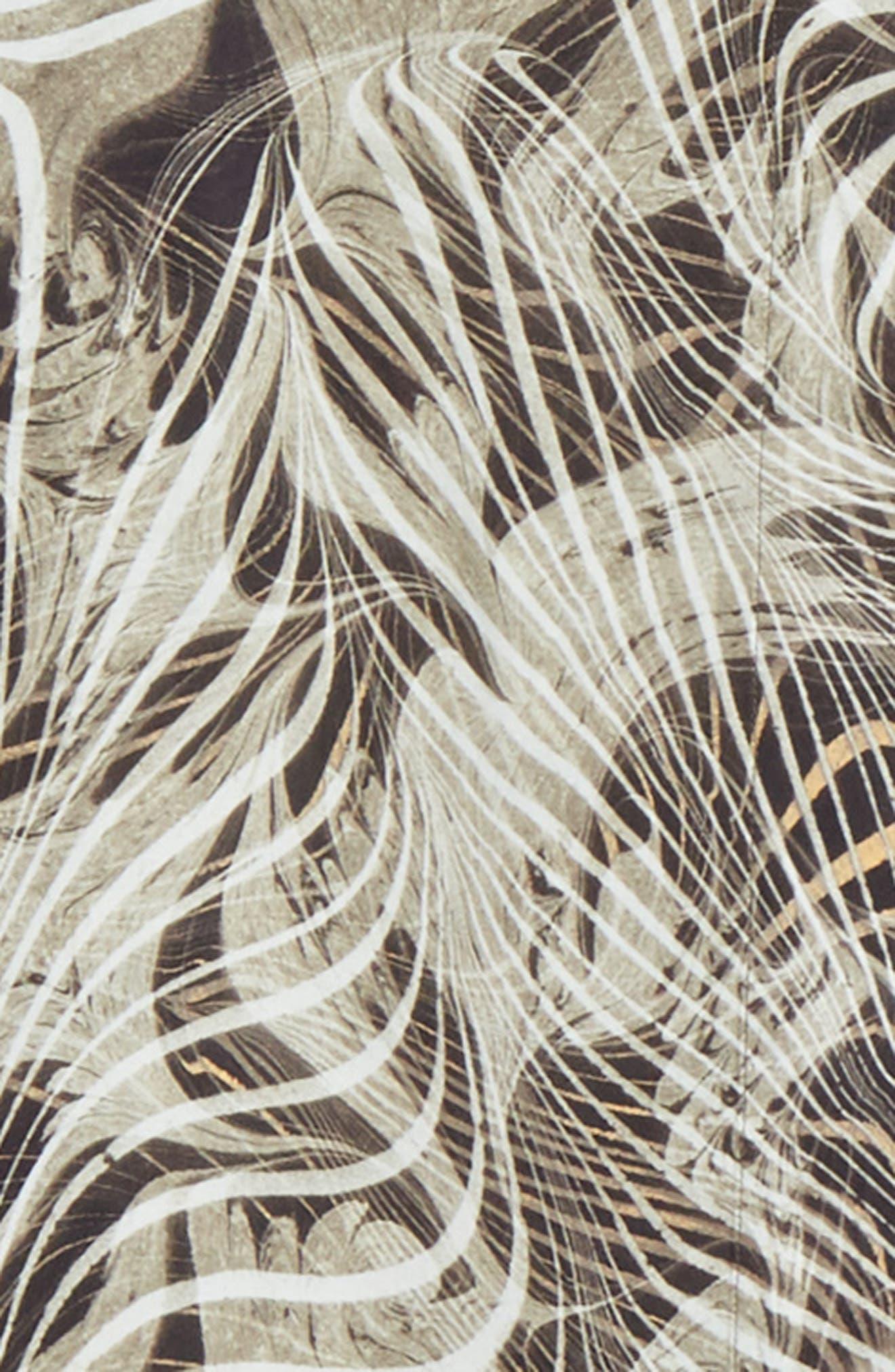 LEMAIRE, Tropical Print Sport Shirt, Alternate thumbnail 7, color, CHALK BLACK