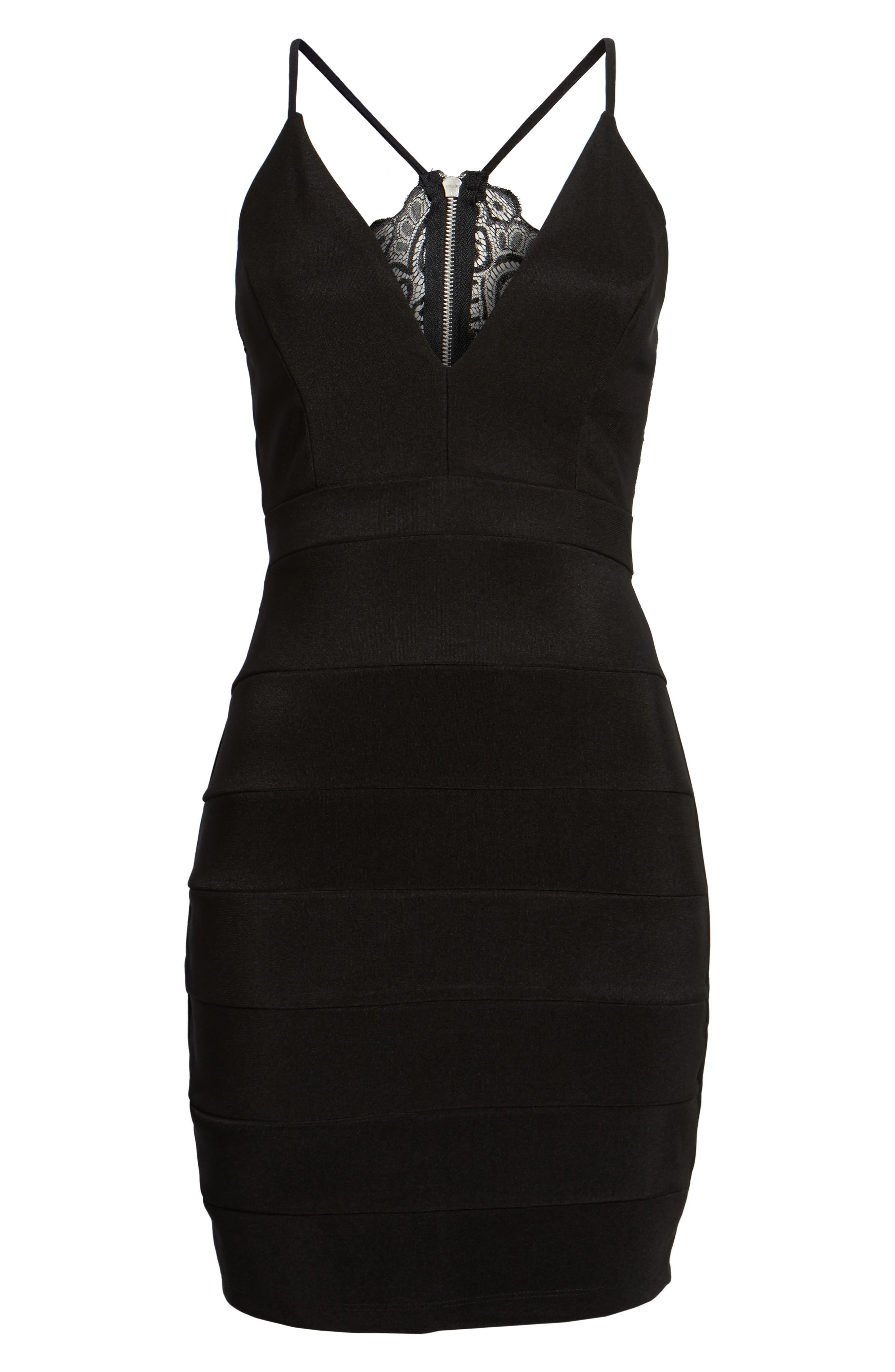 LOVE, NICKIE LEW, Lace Back Body-Con Dress, Alternate thumbnail 6, color, 001