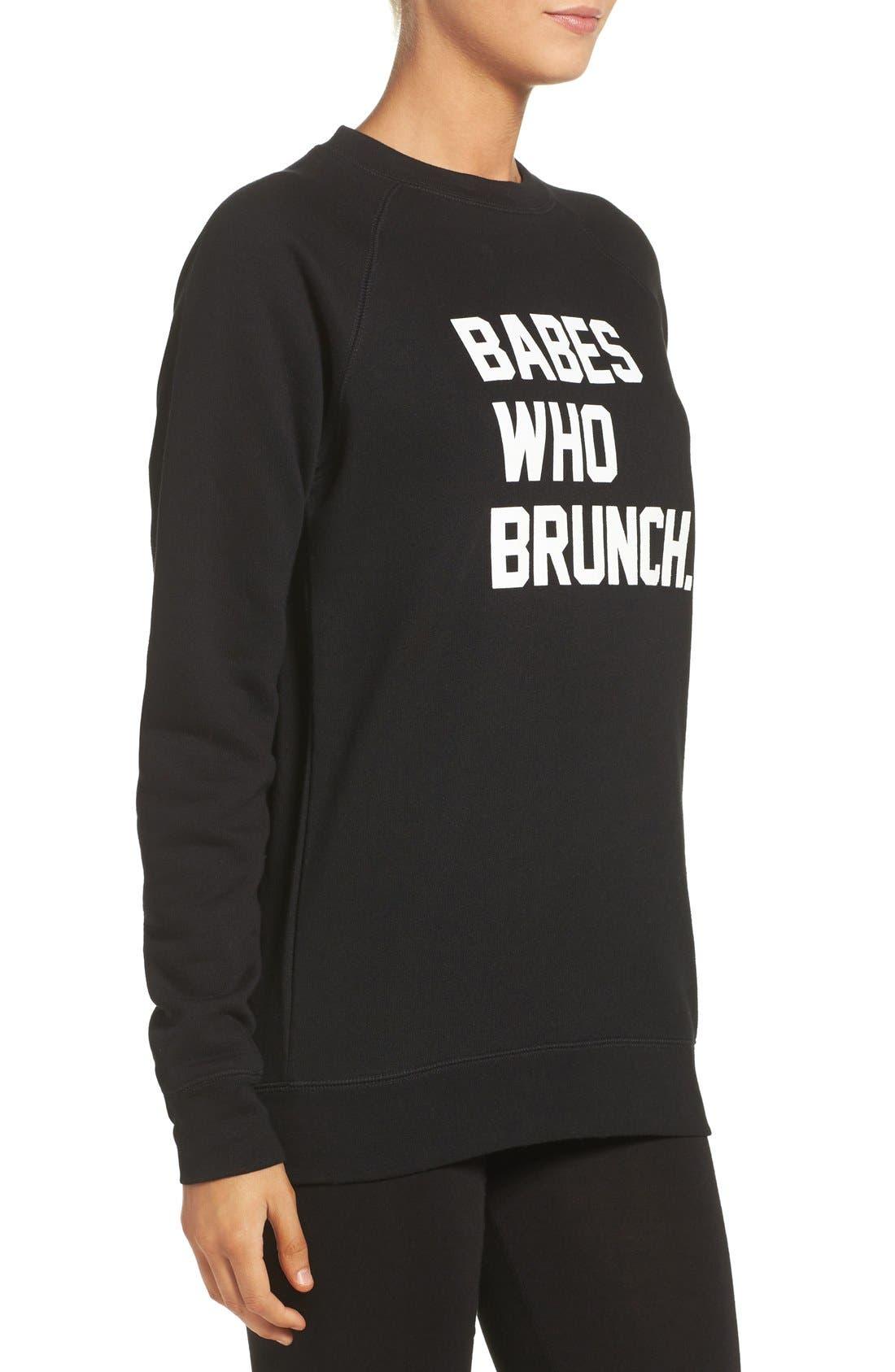 BRUNETTE THE LABEL, 'Babes Who Brunch' Crewneck Sweatshirt, Alternate thumbnail 3, color, 001