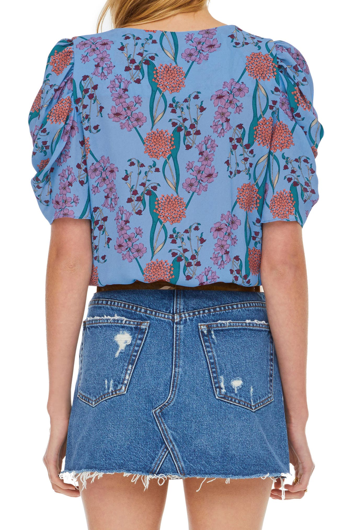 ASTR THE LABEL, Aspect Puff Sleeve Bodysuit, Alternate thumbnail 2, color, BLUEBELL FLORAL
