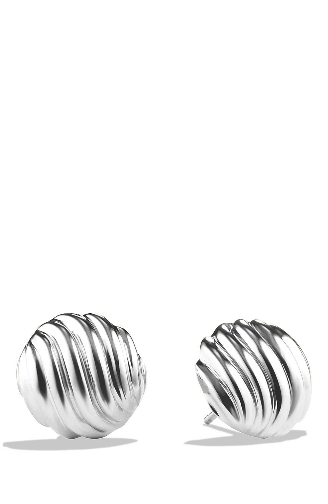 DAVID YURMAN, 'Sculpted Cable' Earrings, Main thumbnail 1, color, SILVER