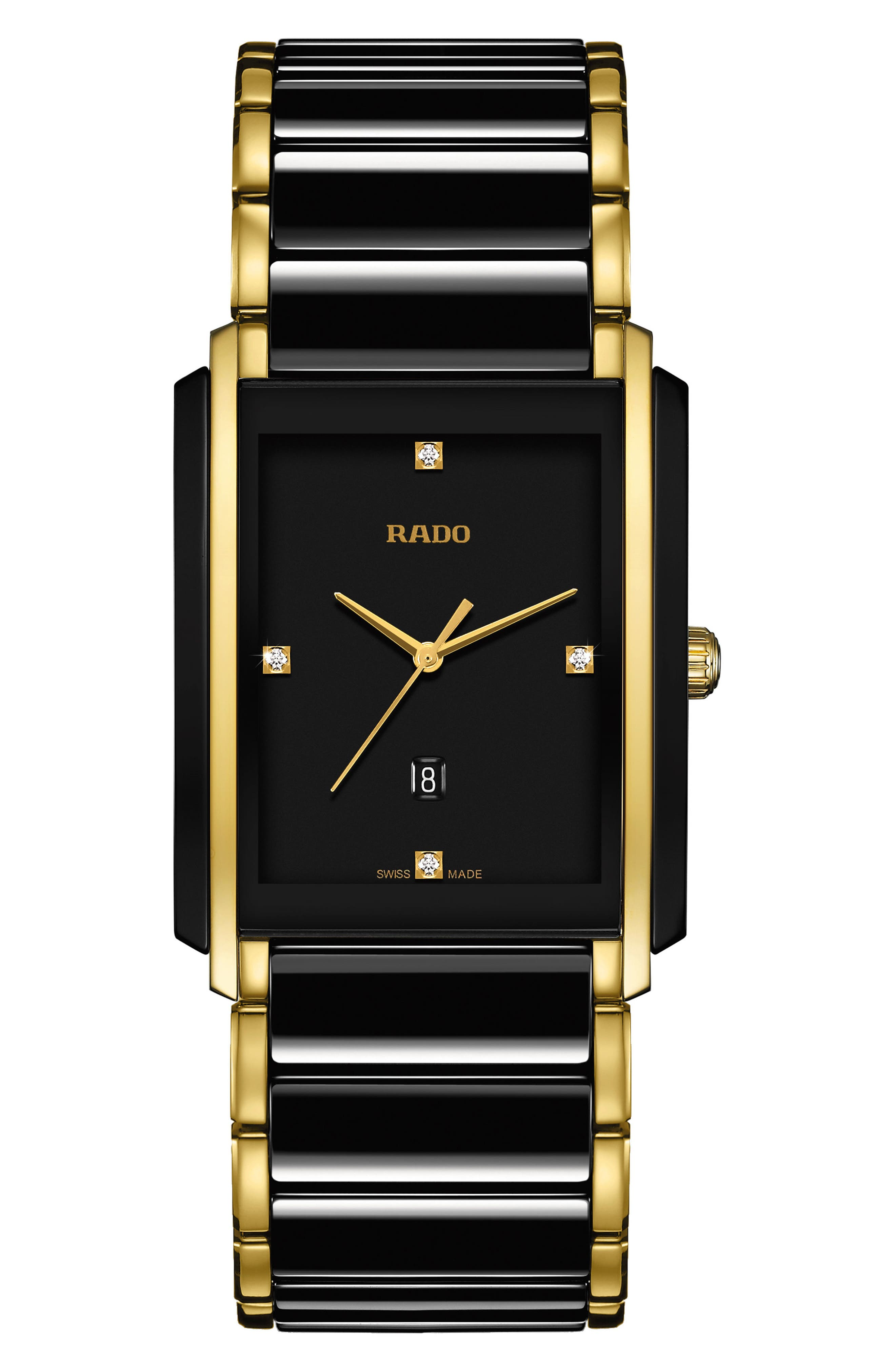 RADO, Integral Diamond Ceramic Bracelet Watch, 31mm x 41.1mm, Main thumbnail 1, color, BLACK/ GOLD