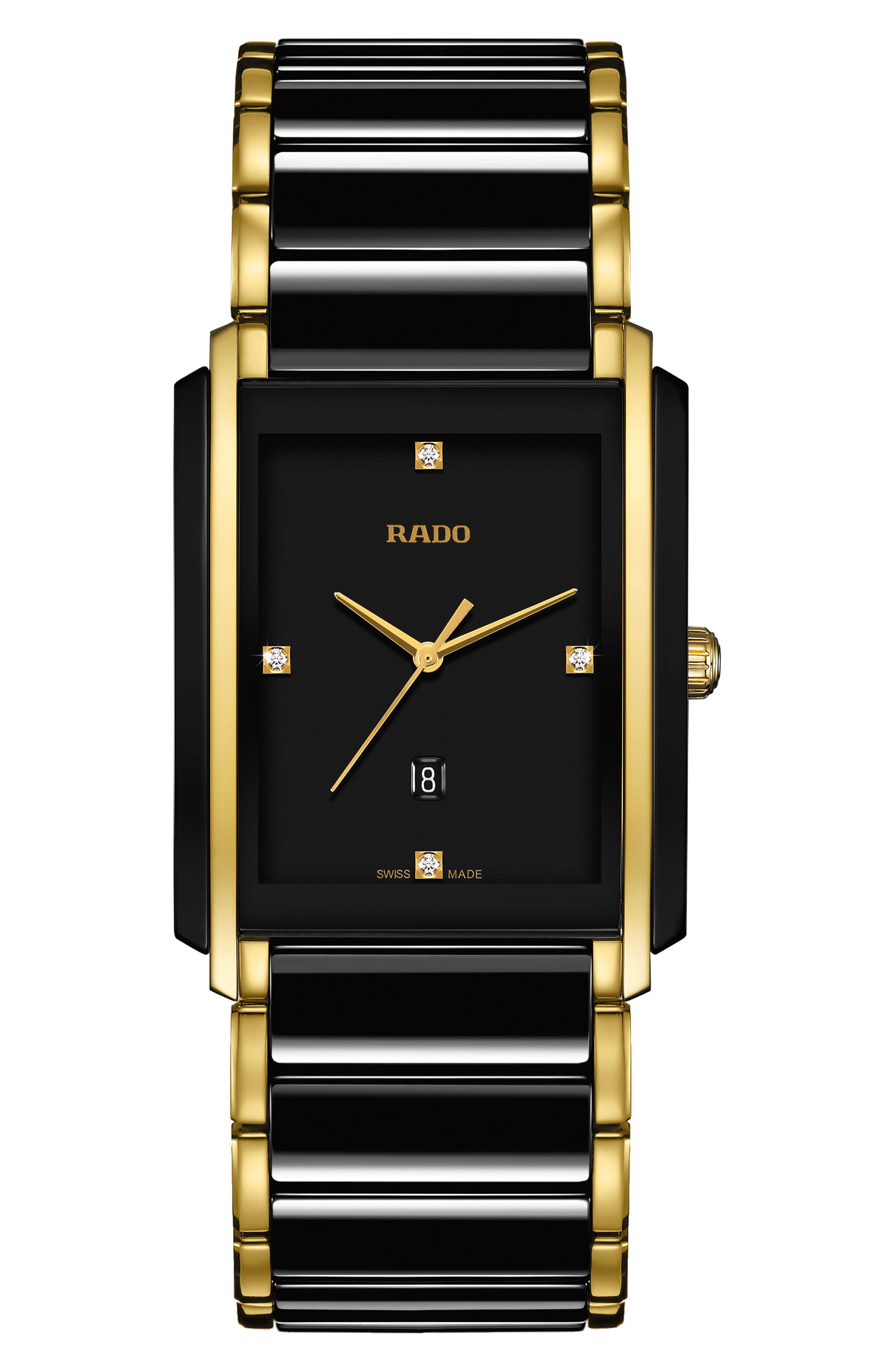 RADO Integral Diamond Ceramic Bracelet Watch, 31mm x 41.1mm, Main, color, BLACK/ GOLD