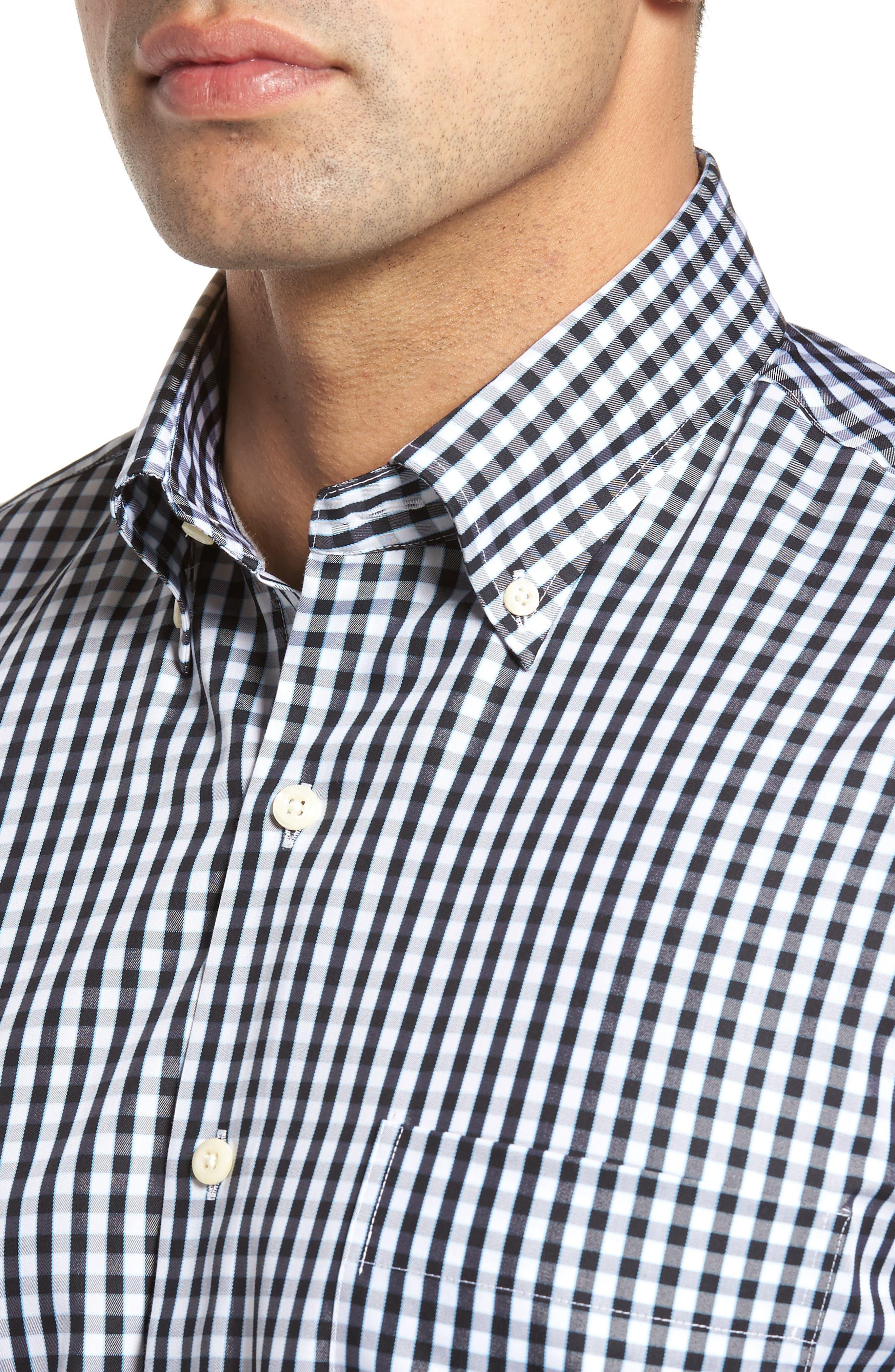 PETER MILLAR, Black Sand Regular Fit Gingham Check Sport Shirt, Alternate thumbnail 4, color, BLACK