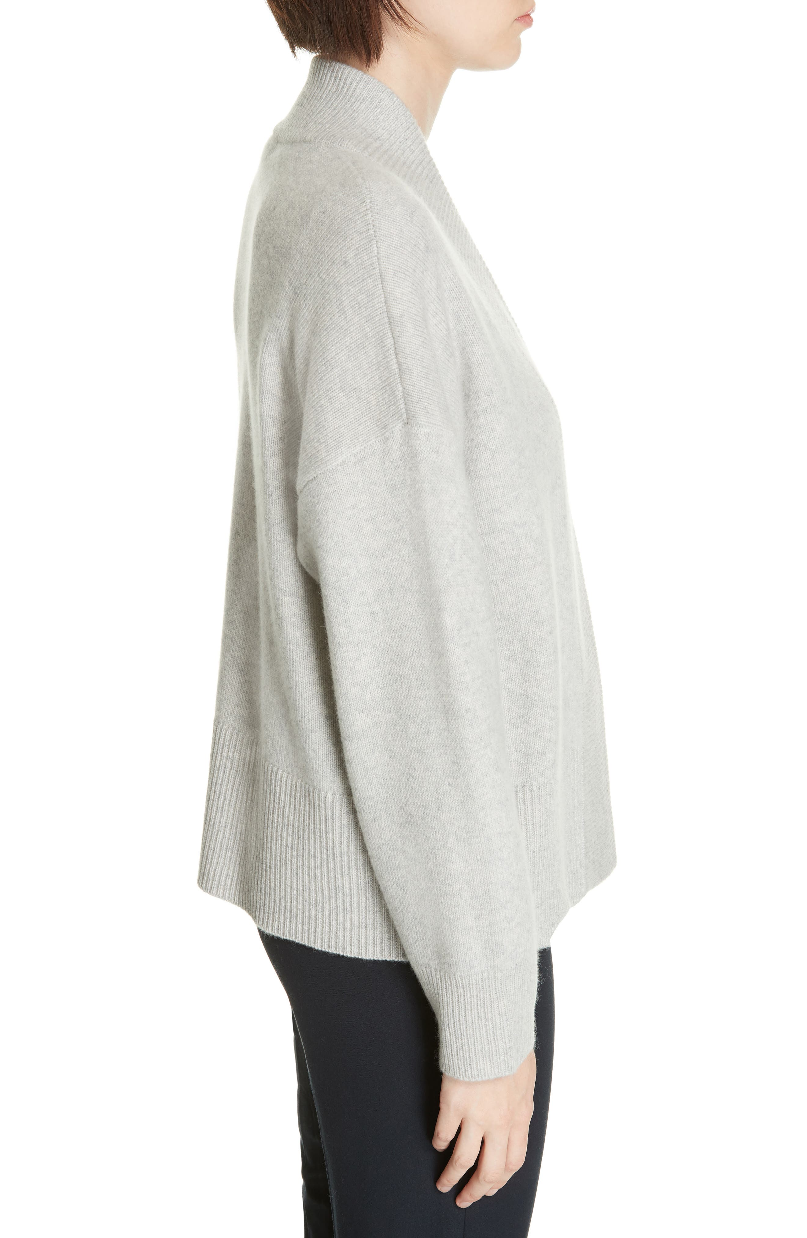 NORDSTROM SIGNATURE, Cashmere Blend Cardigan, Alternate thumbnail 3, color, GREY CLAY HEATHER
