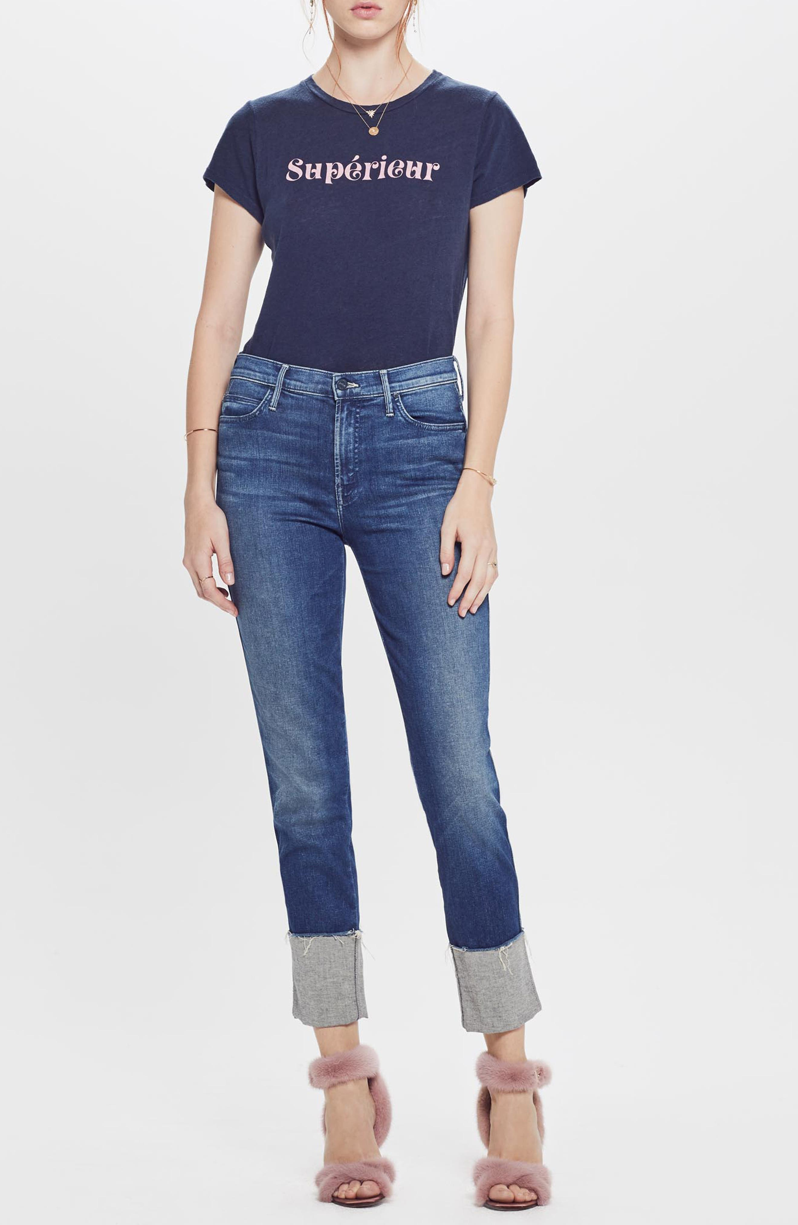MOTHER, The Pony Boy Frayed Ankle Tapered Jeans, Alternate thumbnail 6, color, LURE ME IN