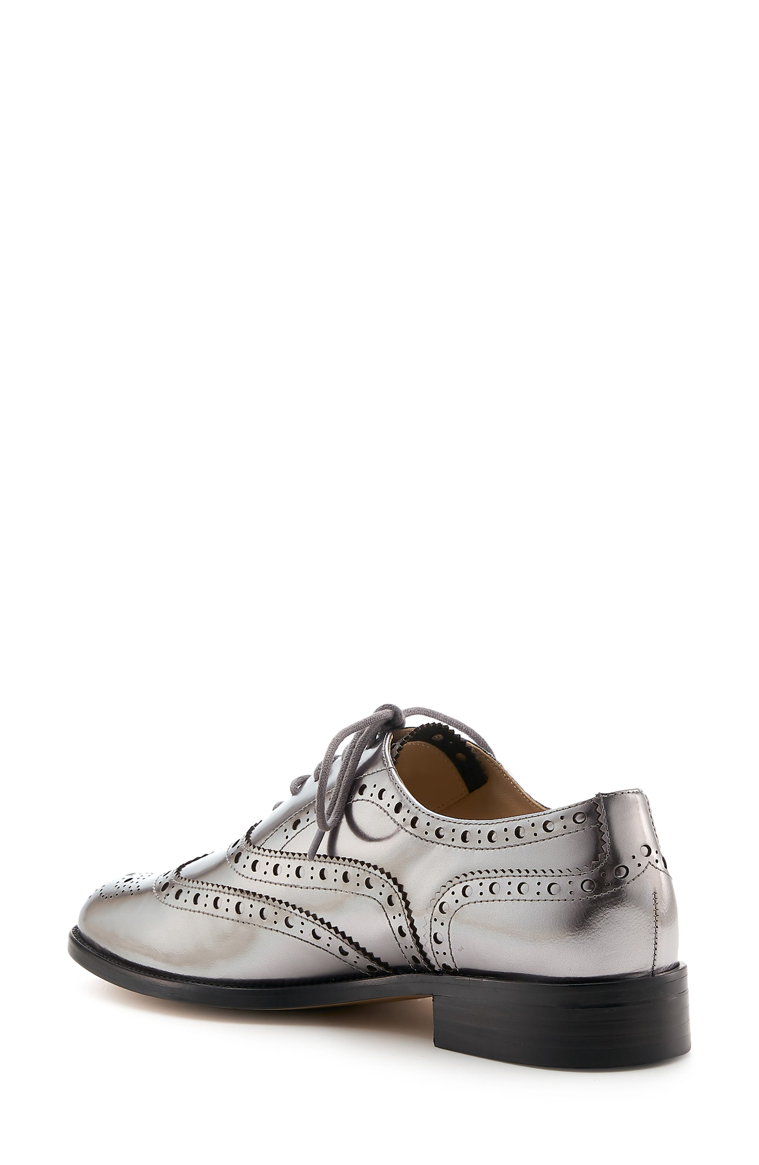 BOTKIER, Calista Metallic Wingtip Oxford, Alternate thumbnail 2, color, PEWTER METALLIC