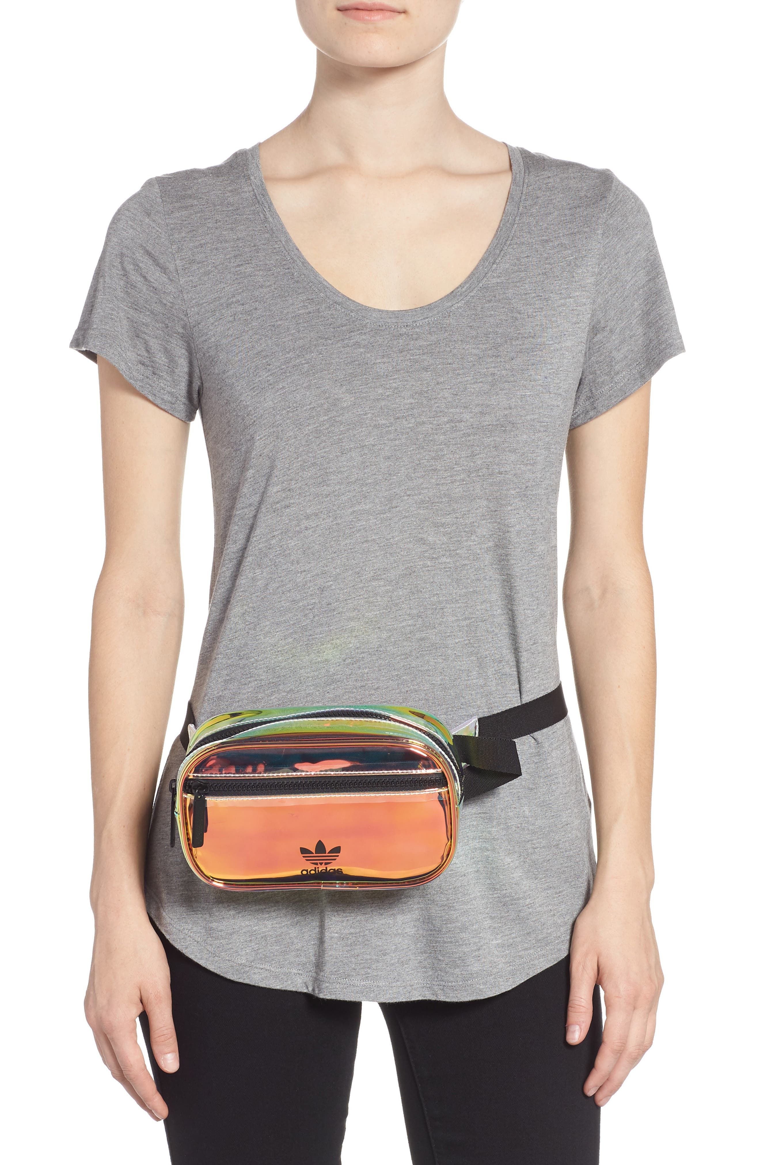 ADIDAS, Ori Holographic Clear Belt Bag, Alternate thumbnail 2, color, 100
