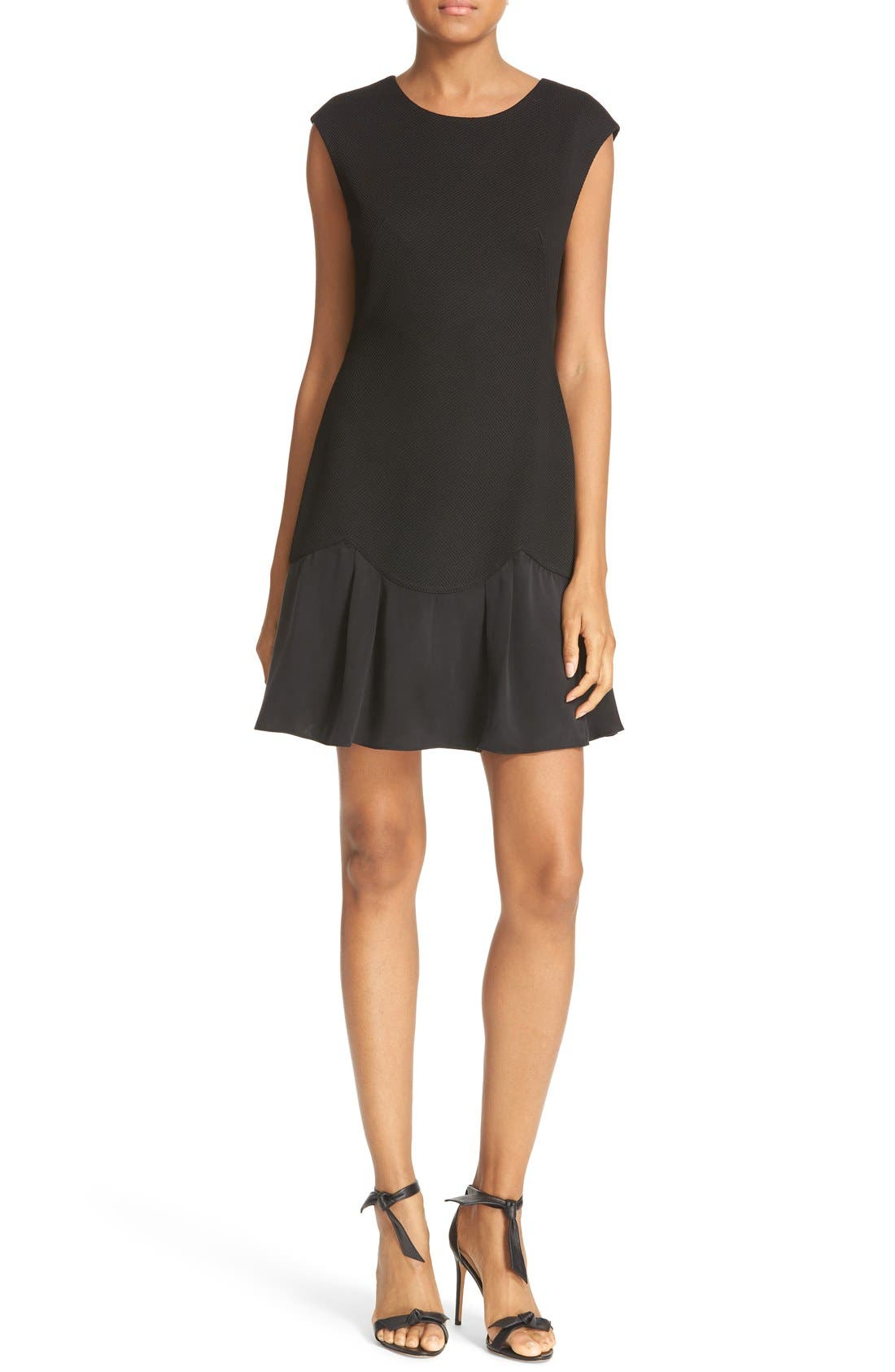 REBECCA TAYLOR, Stacy Drop Waist Dress, Main thumbnail 1, color, BLACK