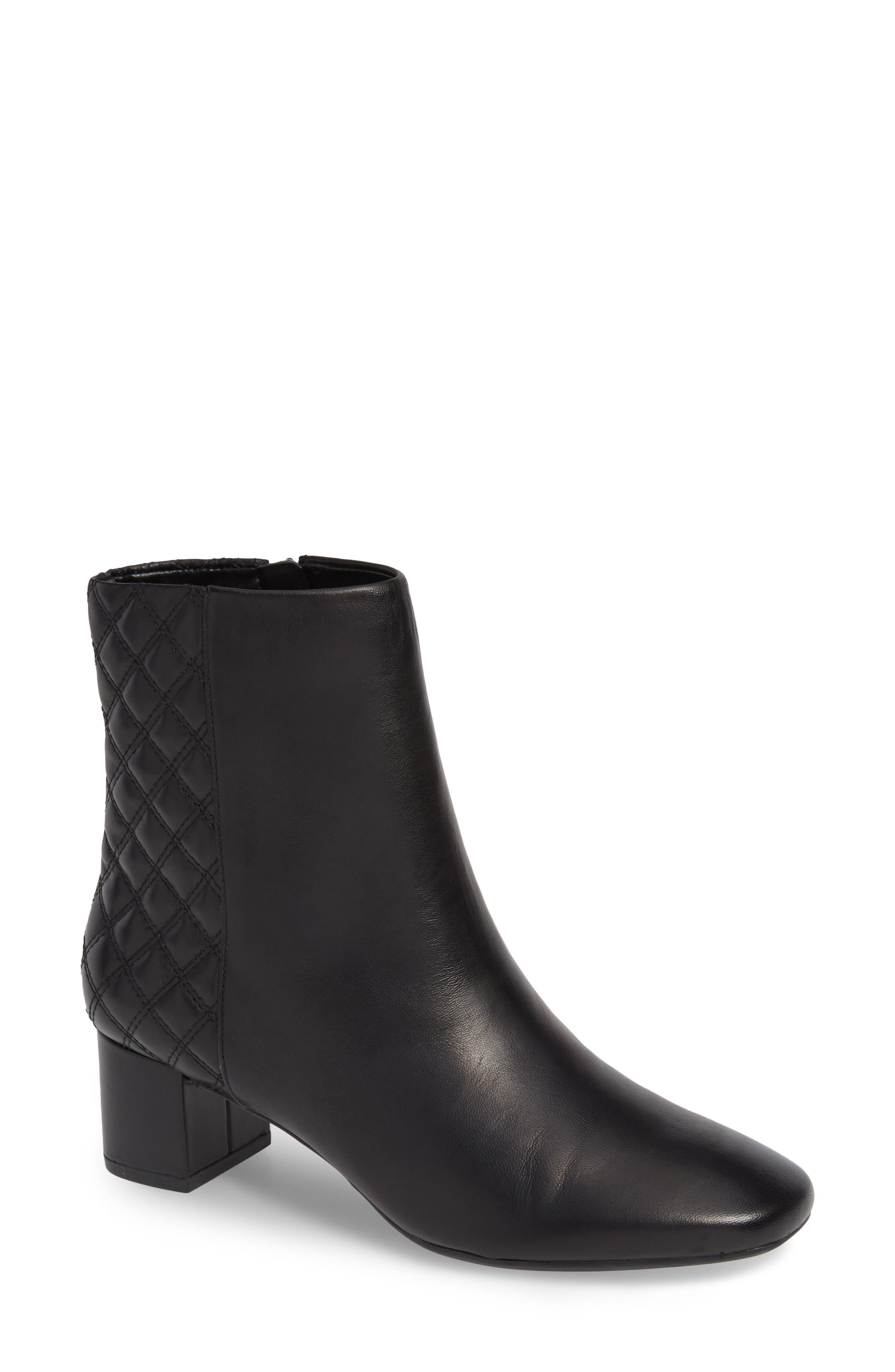 CLARKS<SUP>®</SUP>, Tealia Luck Bootie, Main thumbnail 1, color, BLACK LEATHER