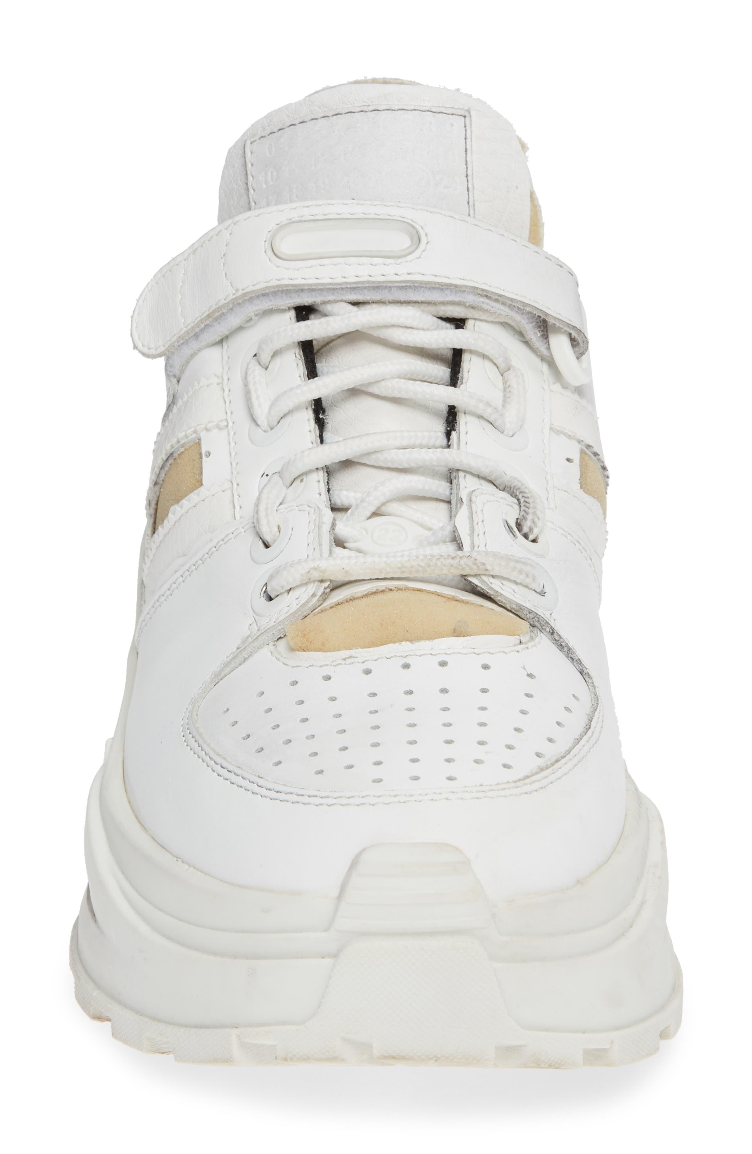 MAISON MARGIELA, Retro Fit Destroyed Sneaker, Alternate thumbnail 4, color, WHITE