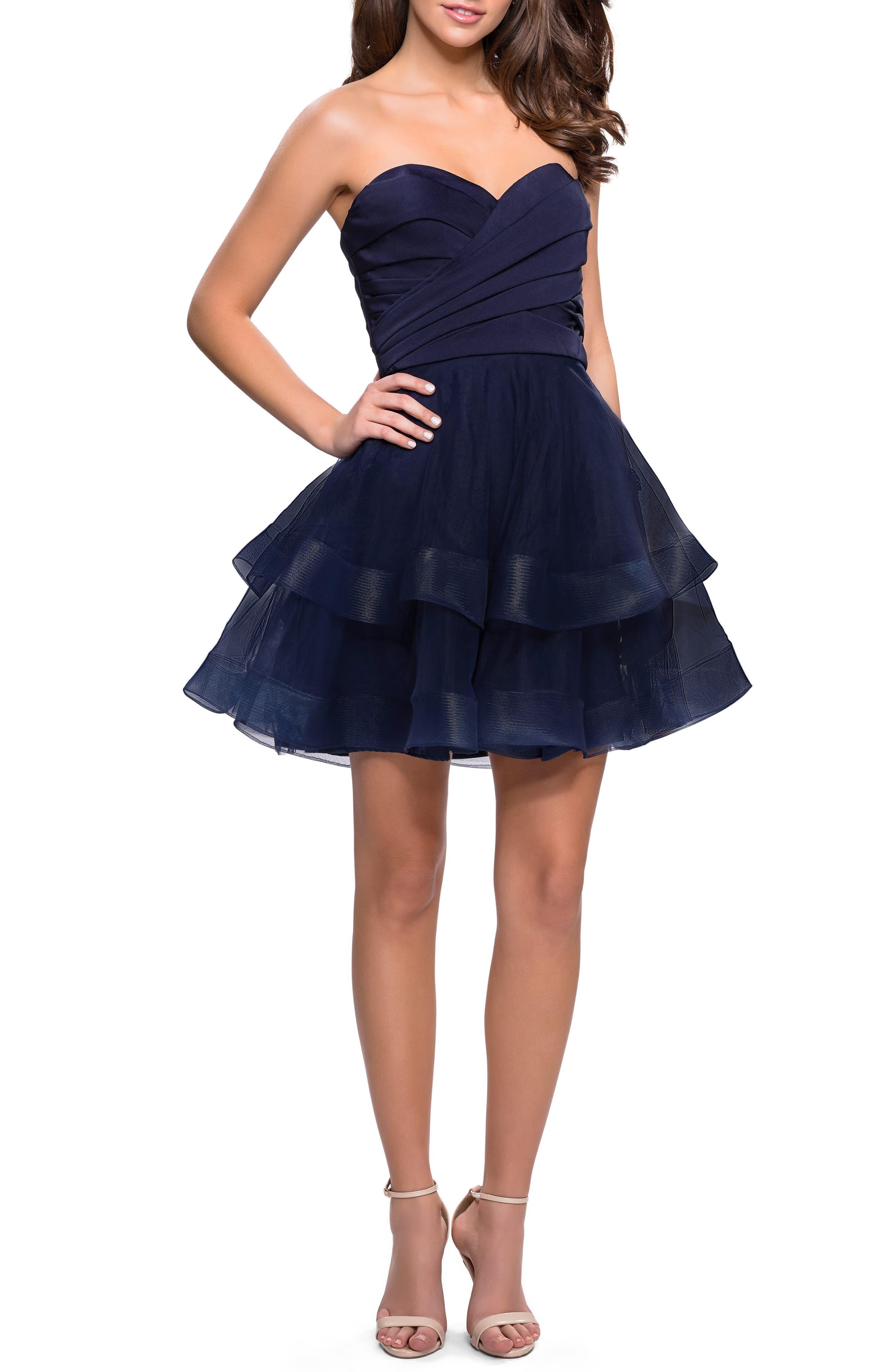 La Femme Tiered Tulle Minidress, Blue