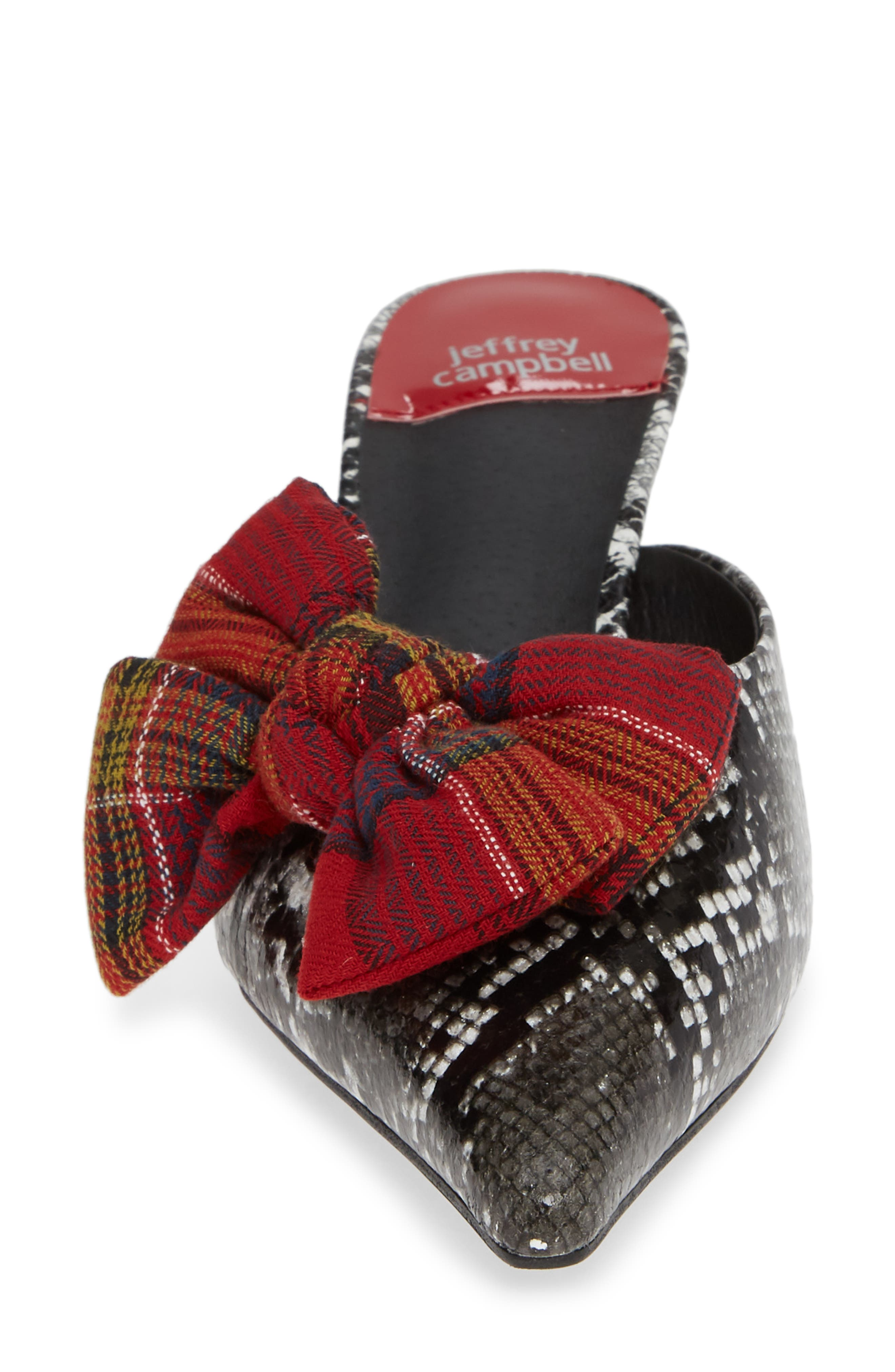 JEFFREY CAMPBELL, Adorn Pointy Toe Mule, Alternate thumbnail 4, color, GREY BLACK SNAKE / RED PLAID