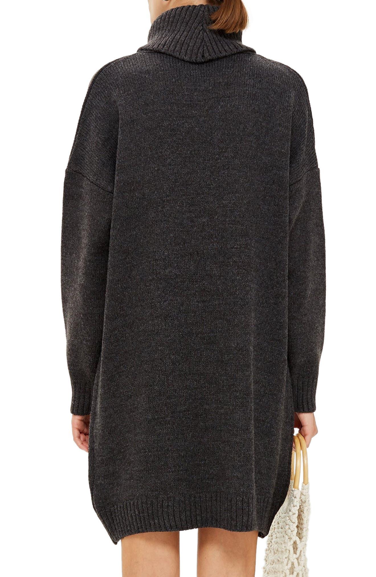 TOPSHOP, Turtleneck Sweater Dress, Alternate thumbnail 2, color, 021