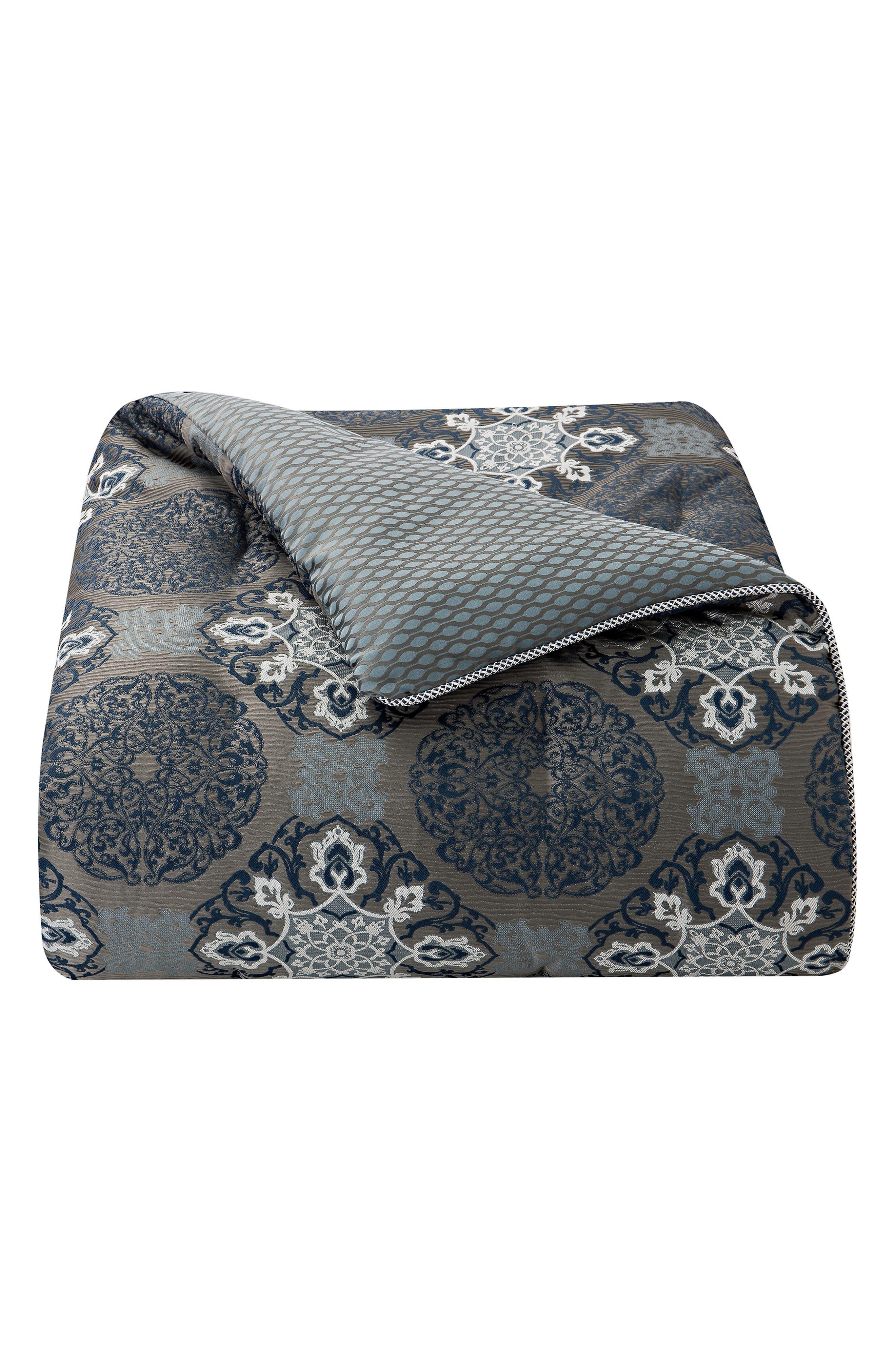 WATERFORD, Jonet Reversible Comforter, Sham & Bedskirt Set, Alternate thumbnail 5, color, INDIGO