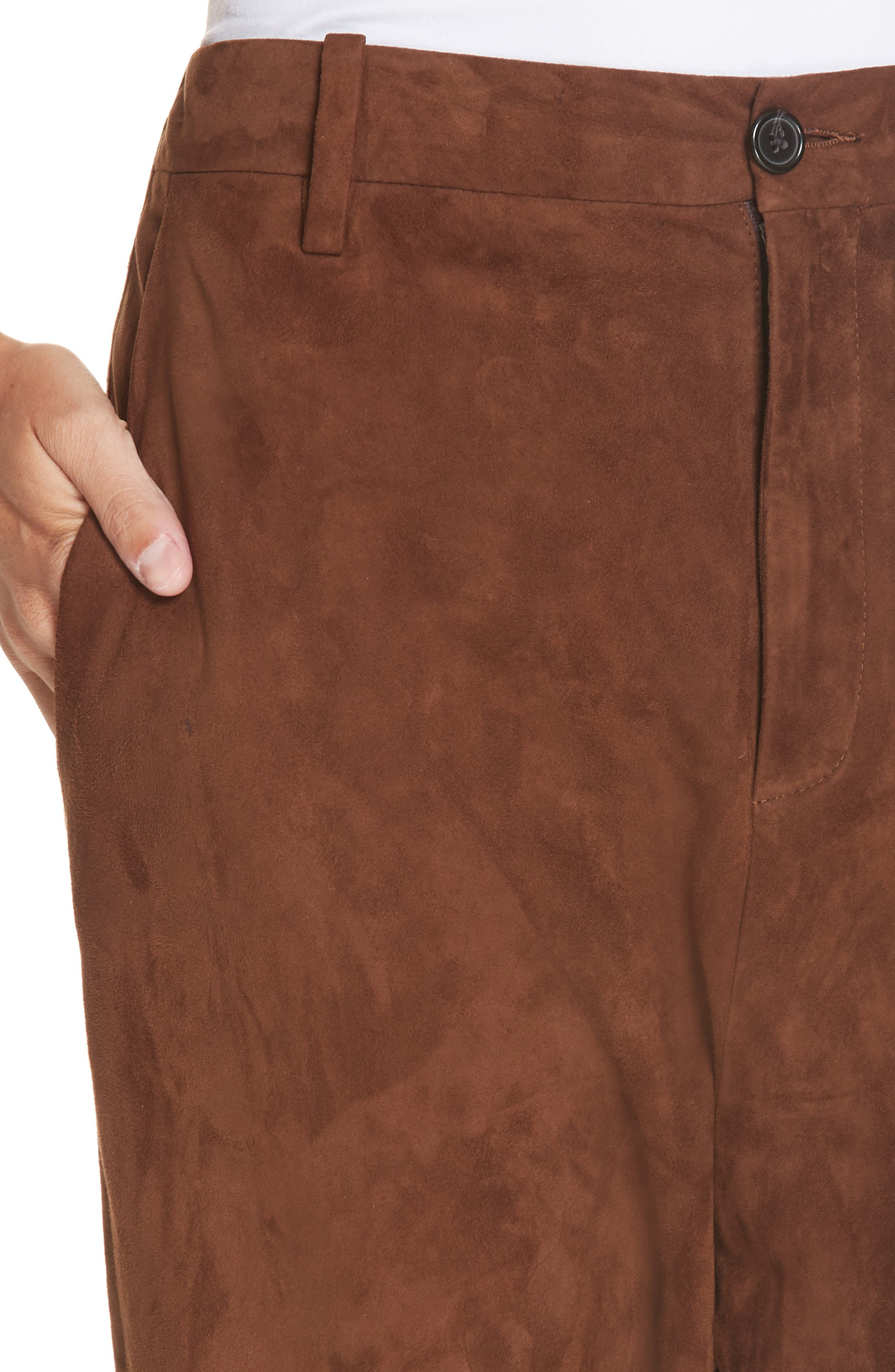 NILI LOTAN, Paris Leather Pants, Alternate thumbnail 5, color, DARK COGNAC