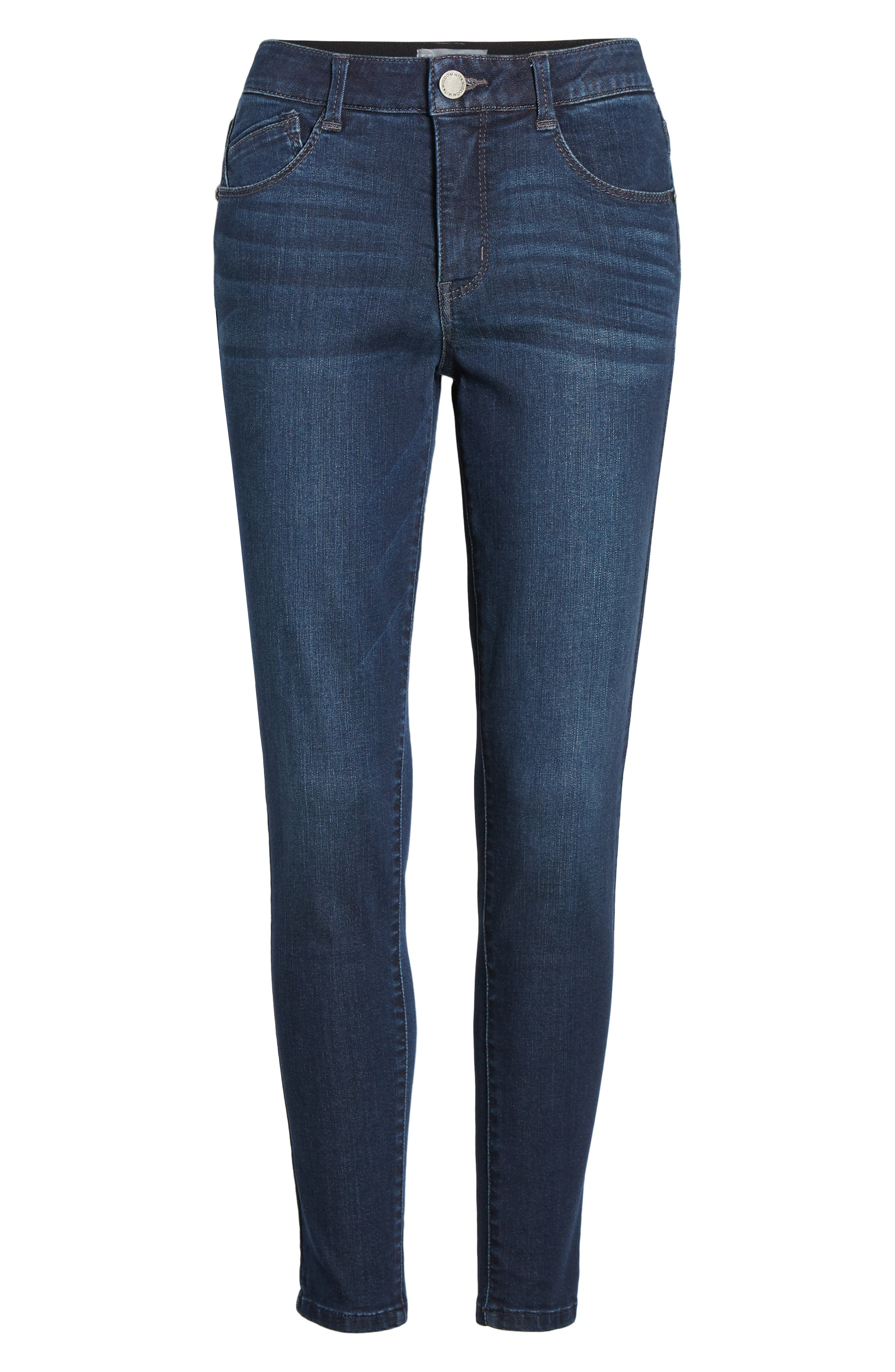 WIT & WISDOM, Ab-Solution High Rise Ankle Skinny Jeans, Alternate thumbnail 7, color, INDIGO