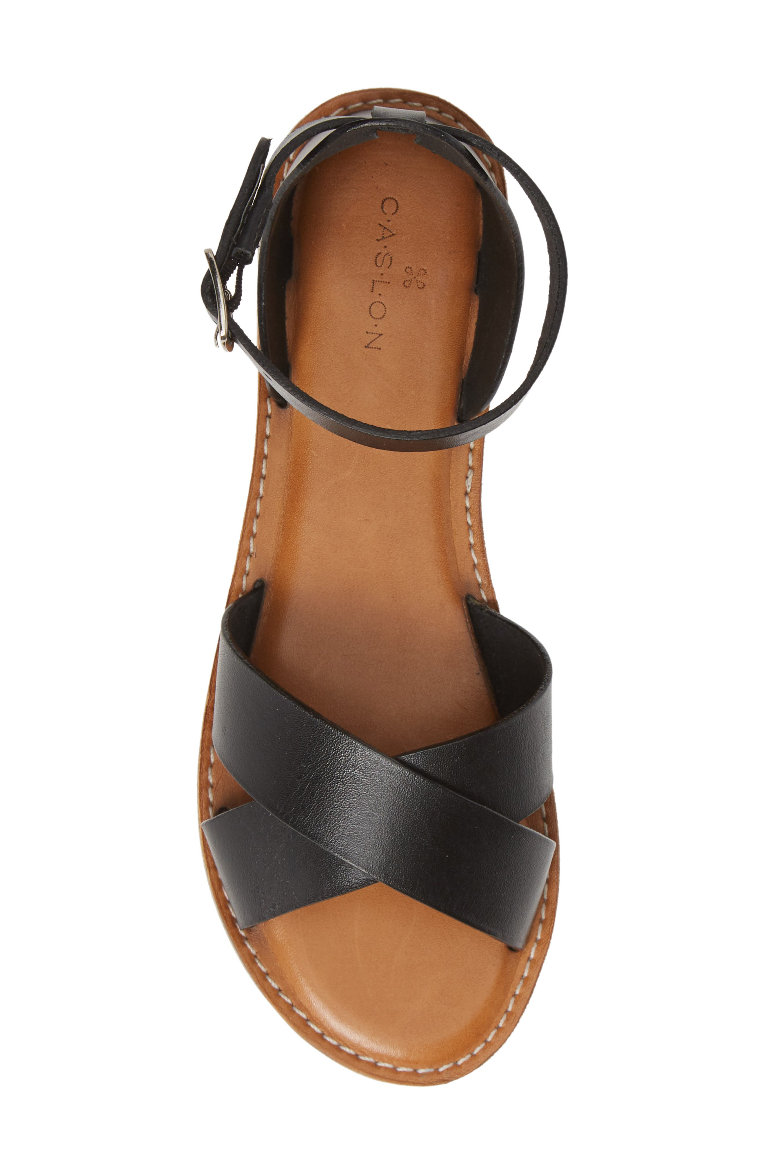 CASLON<SUP>®</SUP>, Oliver Sandal, Alternate thumbnail 6, color, BLACK LEATHER