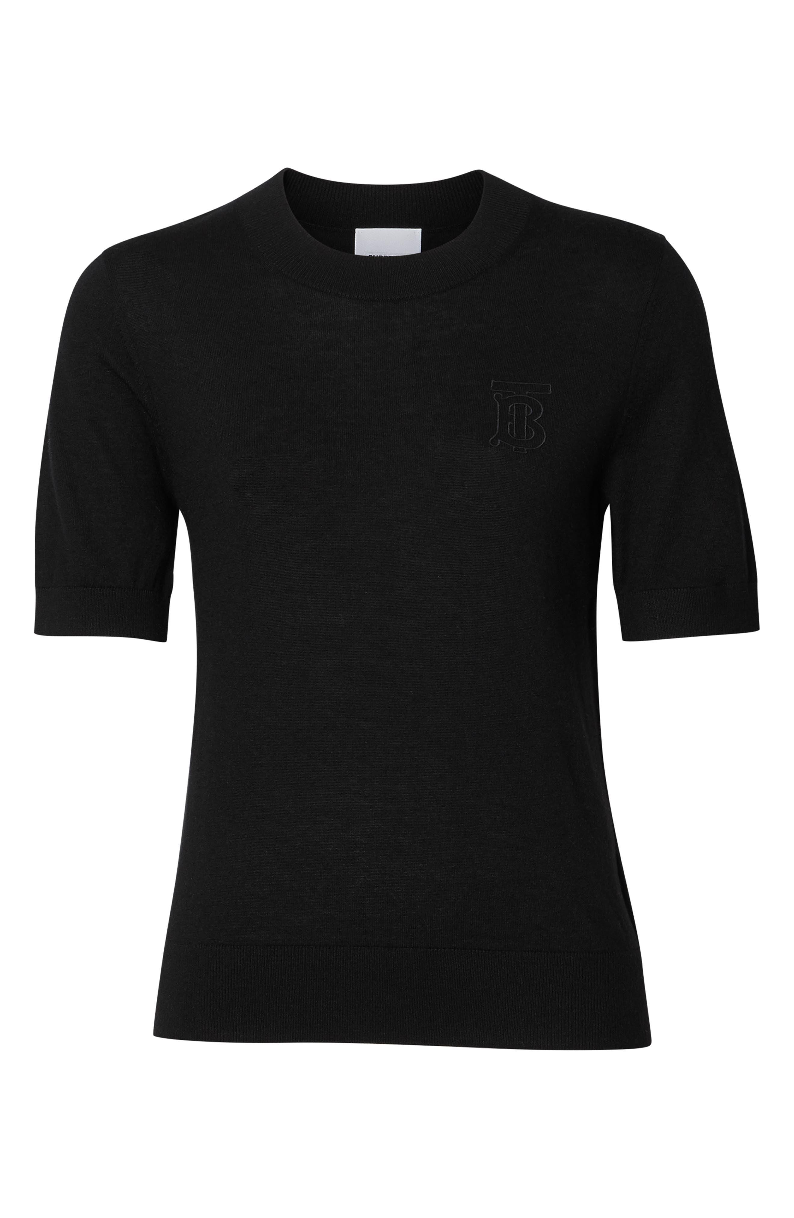 BURBERRY, Callery Monogram Logo Cashmere Sweater, Alternate thumbnail 5, color, BLACK