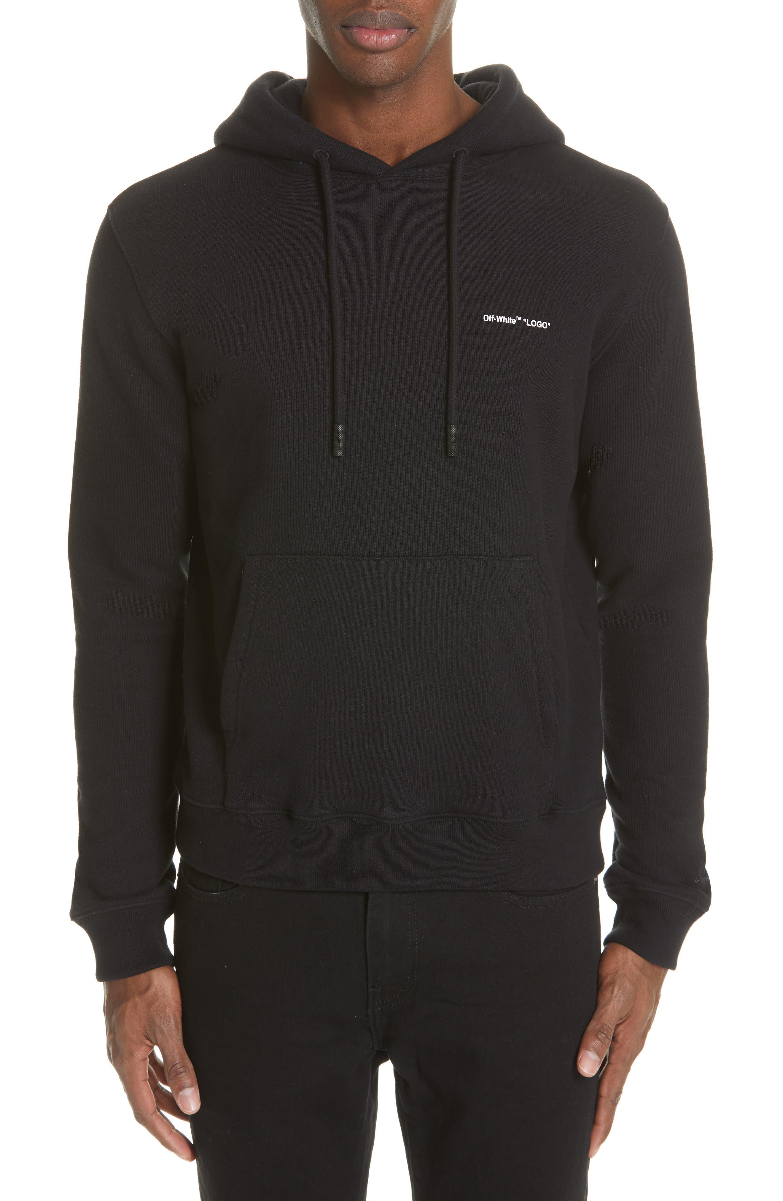 OFF-WHITE Slim Fit Logo Hoodie, Main, color, BLACK