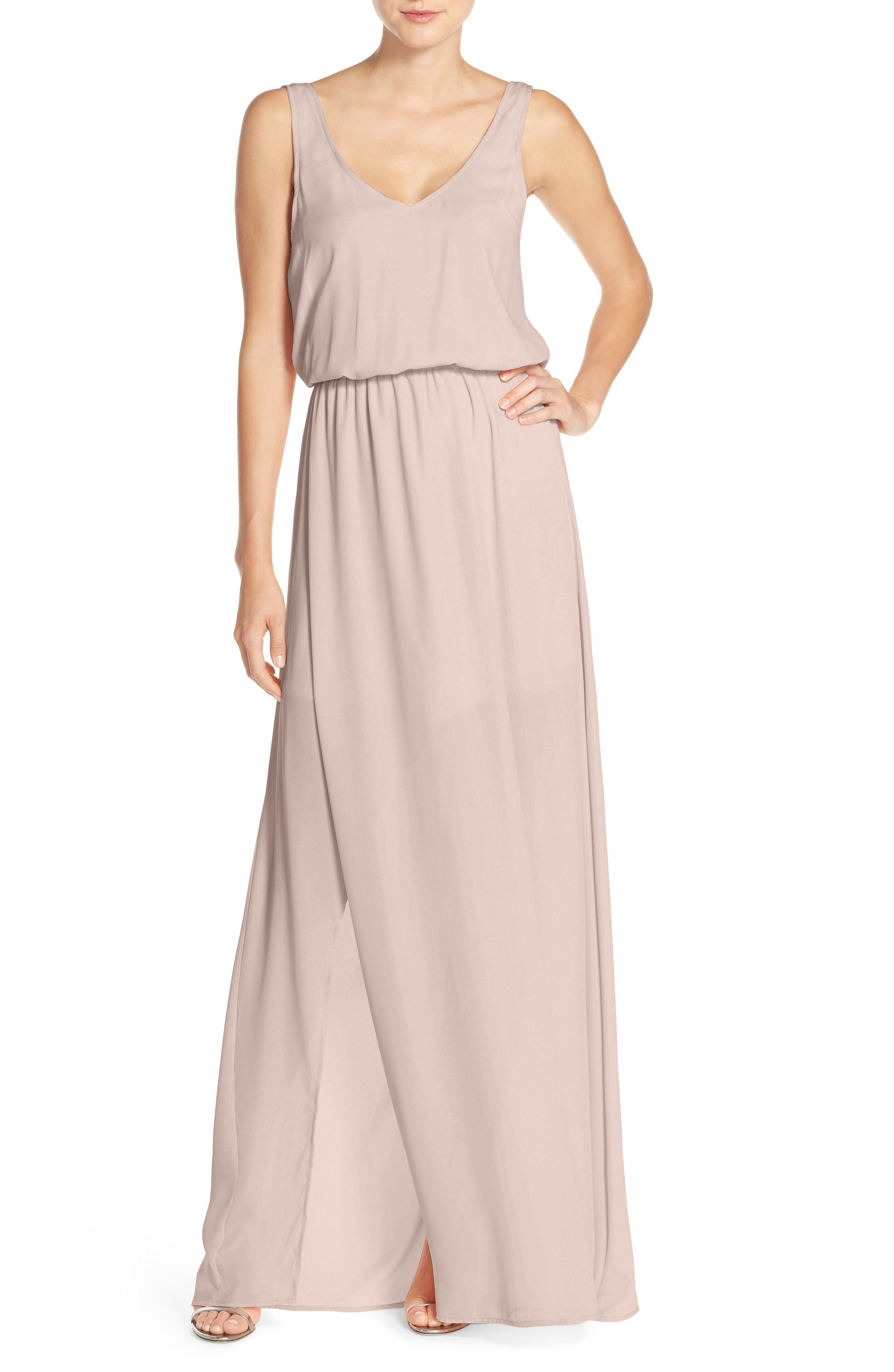 SHOW ME YOUR MUMU, Kendall Soft V-Back A-Line Gown, Alternate thumbnail 4, color, SHOW ME THE RING CRISP