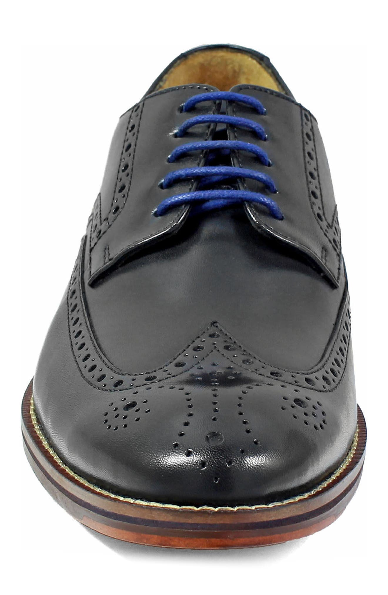 FLORSHEIM, Salerno Wingtip, Alternate thumbnail 4, color, BLACK LEATHER