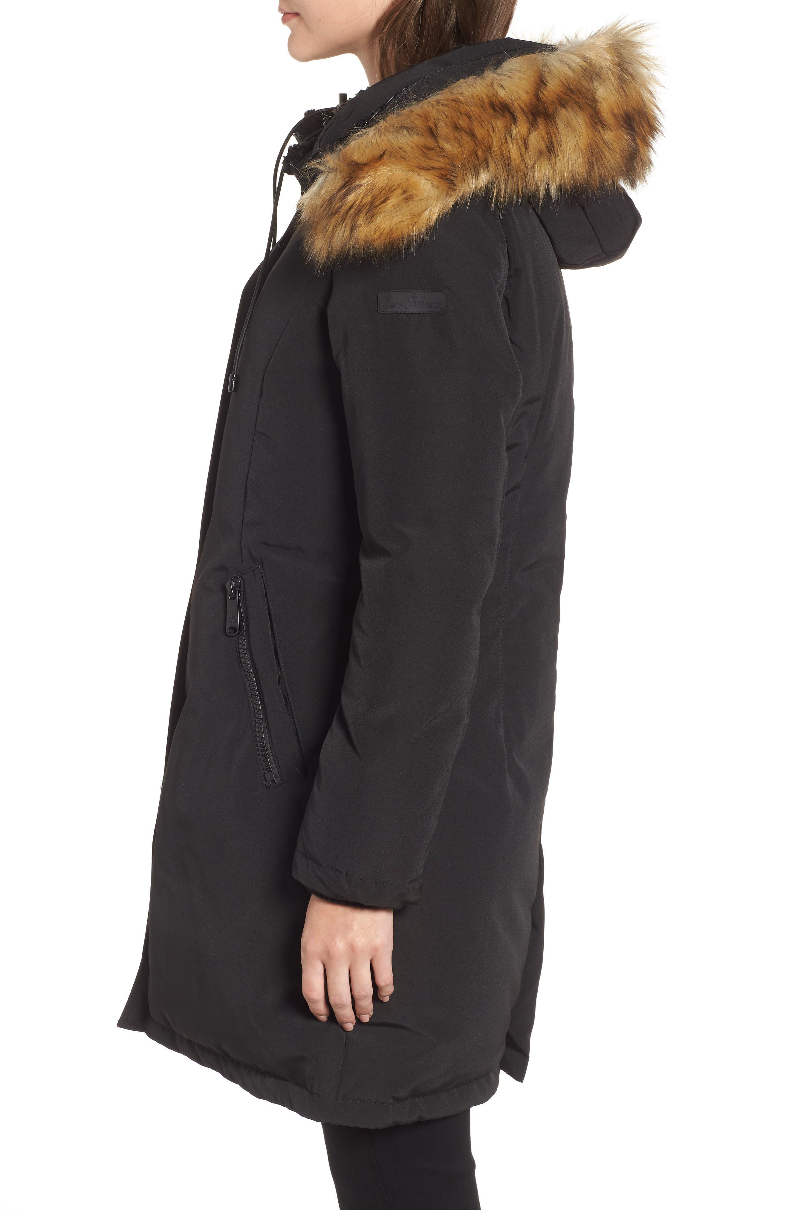 SAM EDELMAN, Faux Fur Trim Down Jacket, Alternate thumbnail 4, color, 001