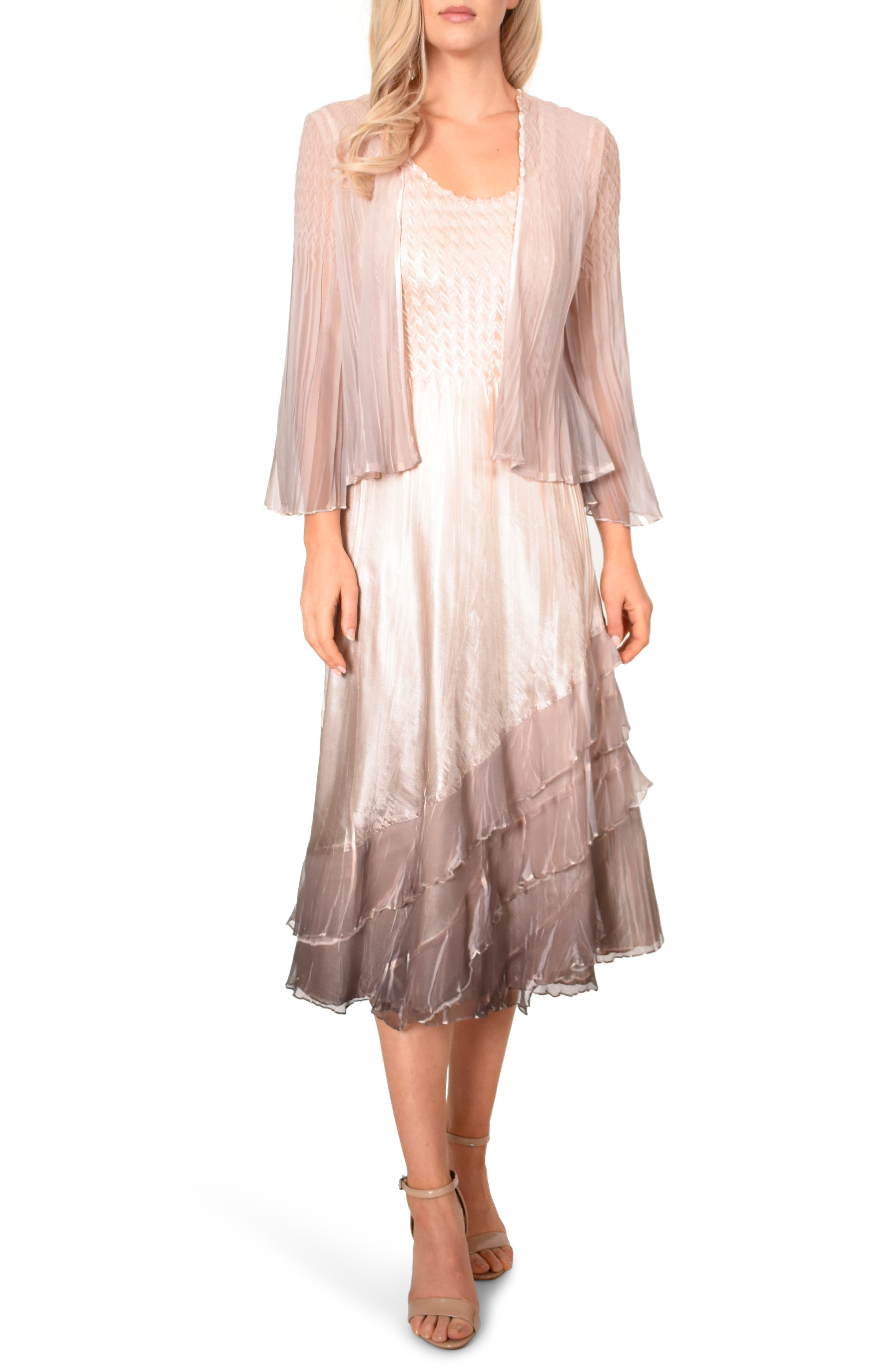 KOMAROV, Charmeuse & Chiffon Cocktail Dress with Jacket, Main thumbnail 1, color, VINTAGE ROSE CAFE OMBRE