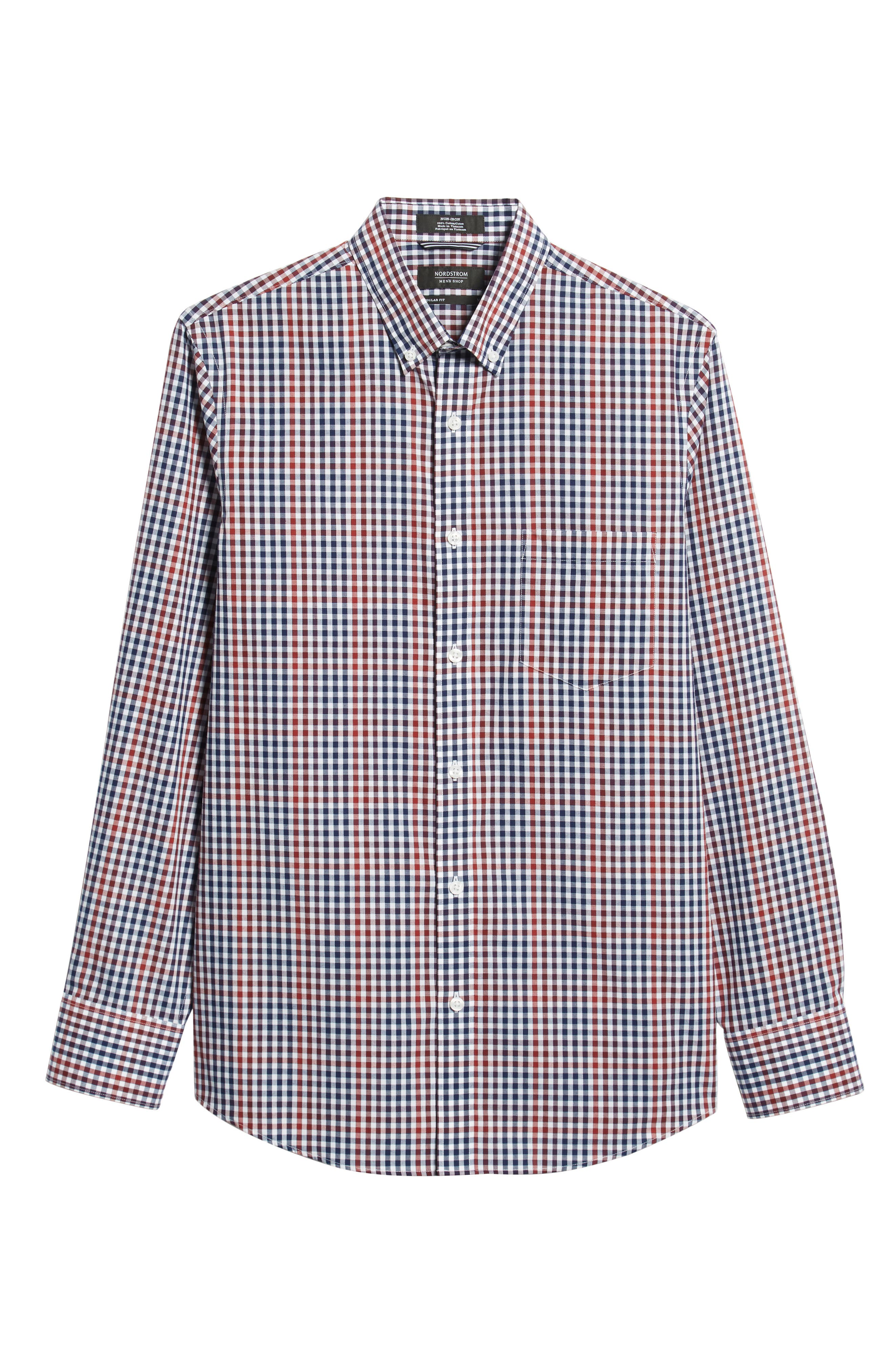 NORDSTROM MEN'S SHOP, Slim Fit Non-Iron Gingham Sport Shirt, Alternate thumbnail 5, color, 610