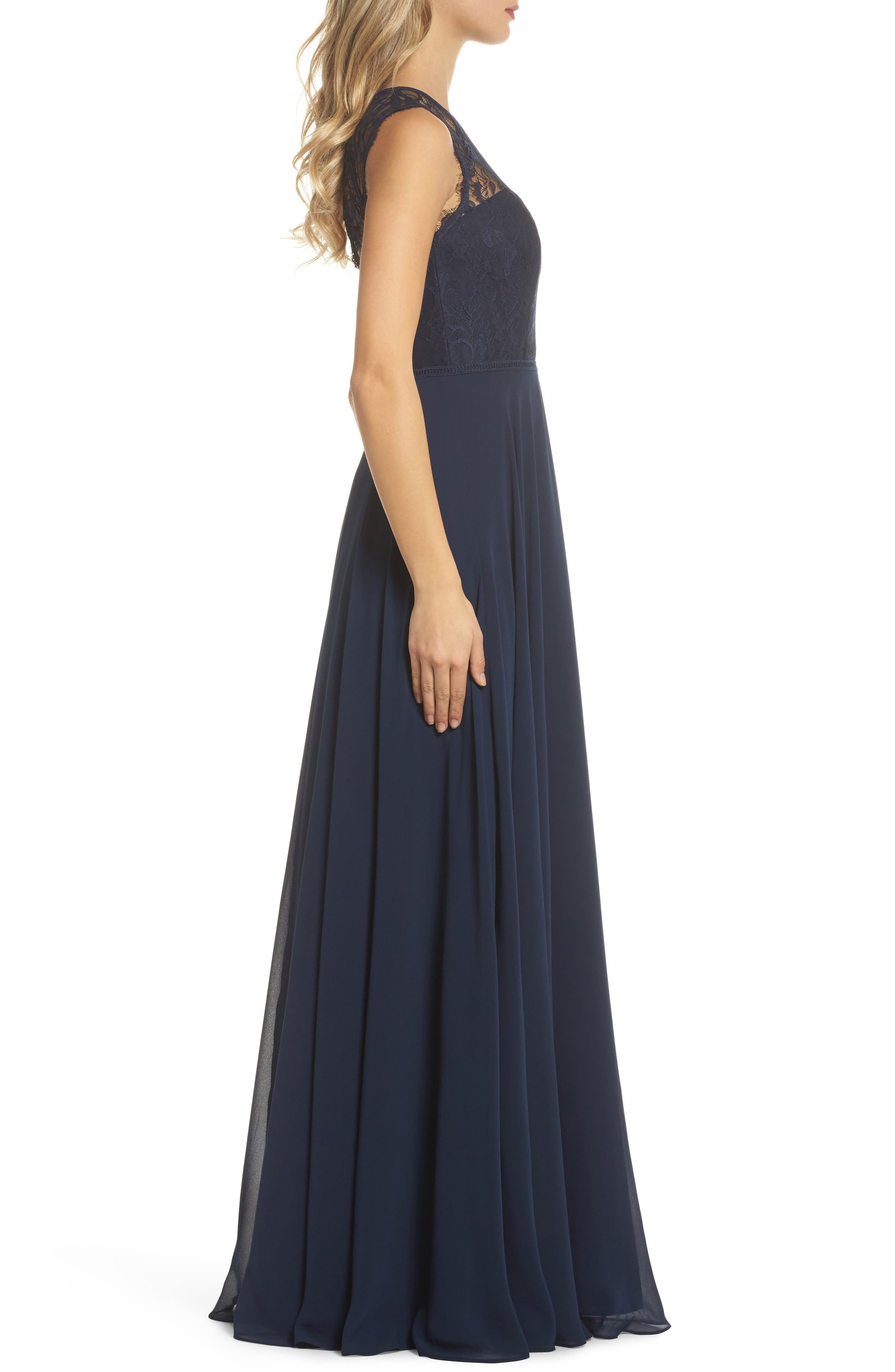 HAYLEY PAIGE OCCASIONS, Lace & Chiffon Gown, Alternate thumbnail 4, color, NAVY