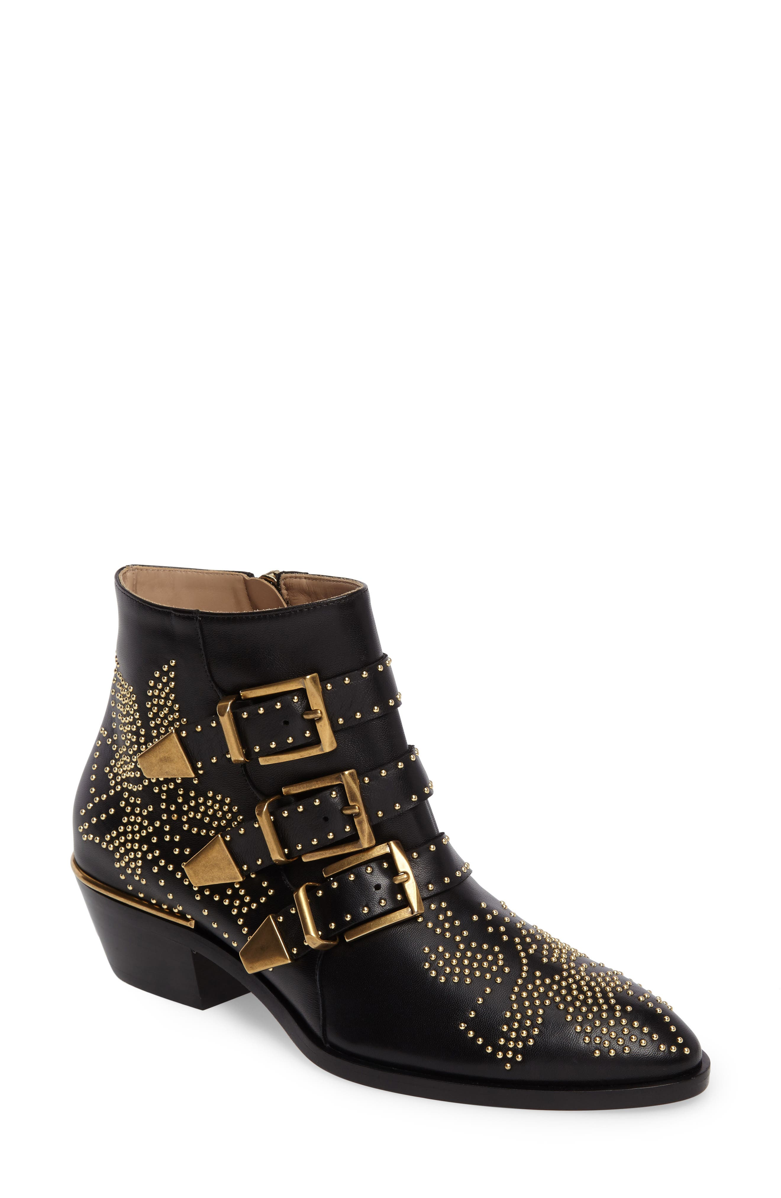 CHLOÉ, Susanna Stud Buckle Bootie, Main thumbnail 1, color, BLACK GOLD LEATHER