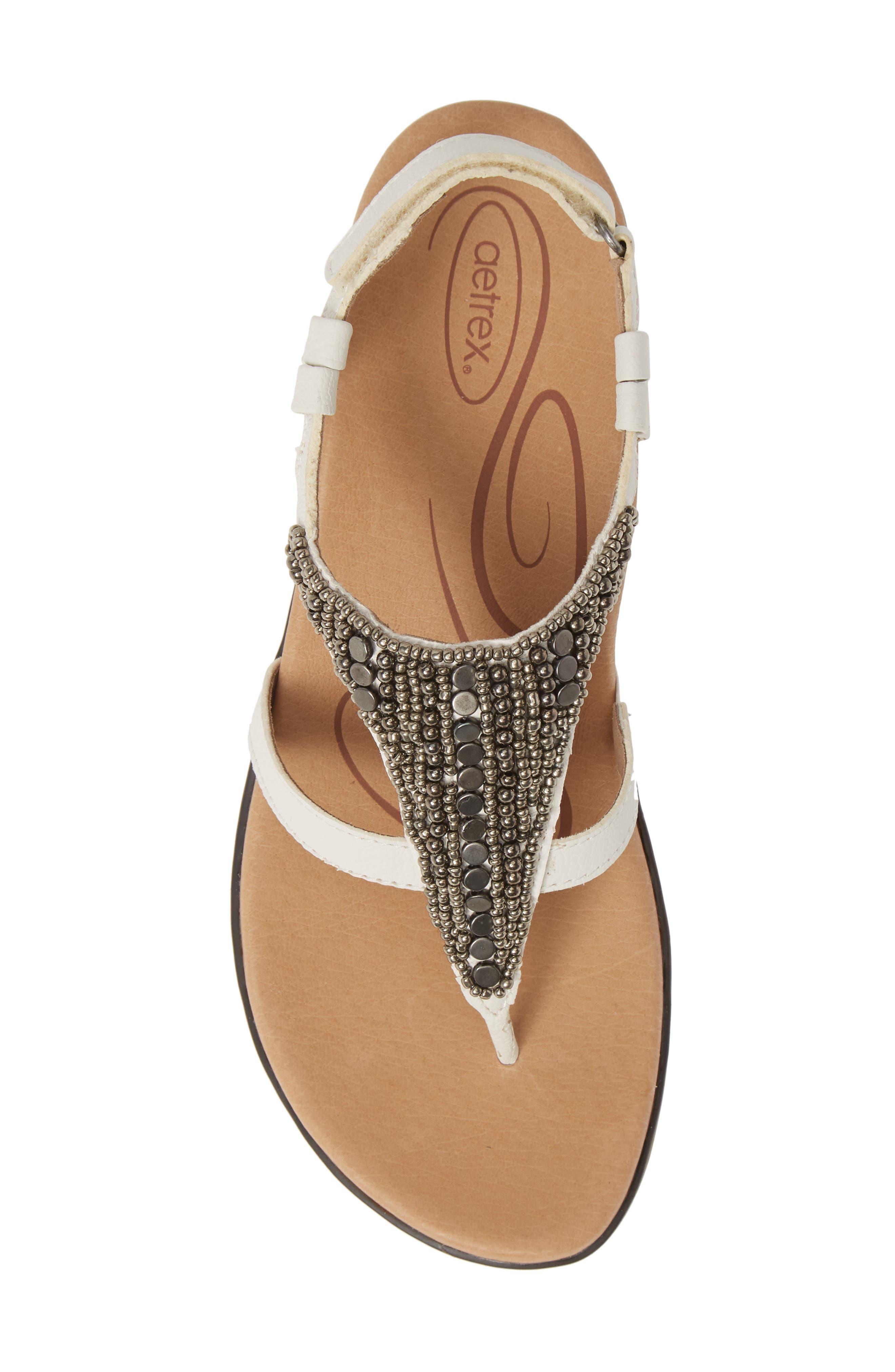 AETREX, Sheila Embellished Sandal, Alternate thumbnail 5, color, WHITE LEATHER