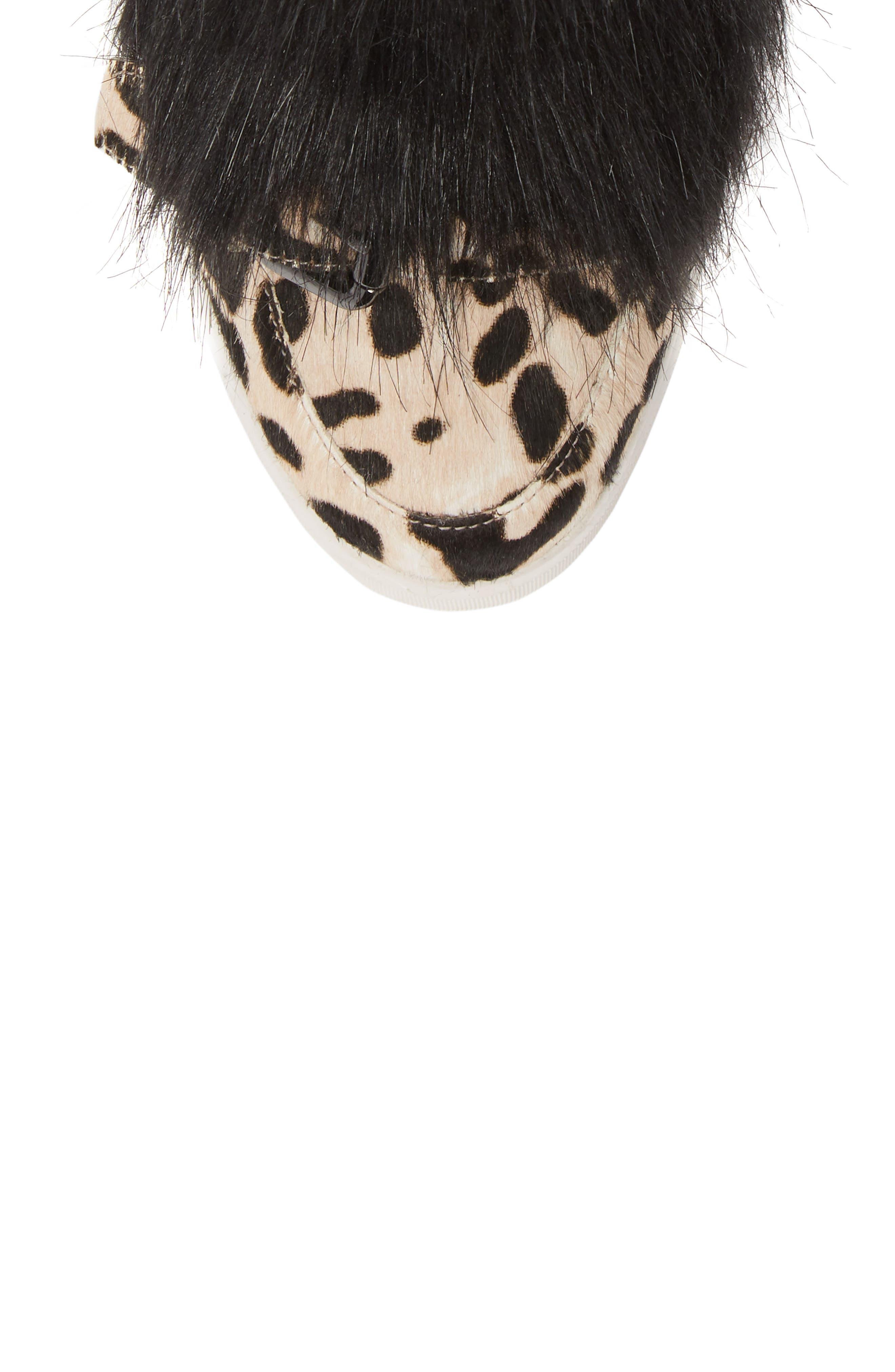 LINEA PAOLO, Fifi 2 Wedge Sneaker, Alternate thumbnail 5, color, WHITE/ BLACK LEOPARD HAIRCALF