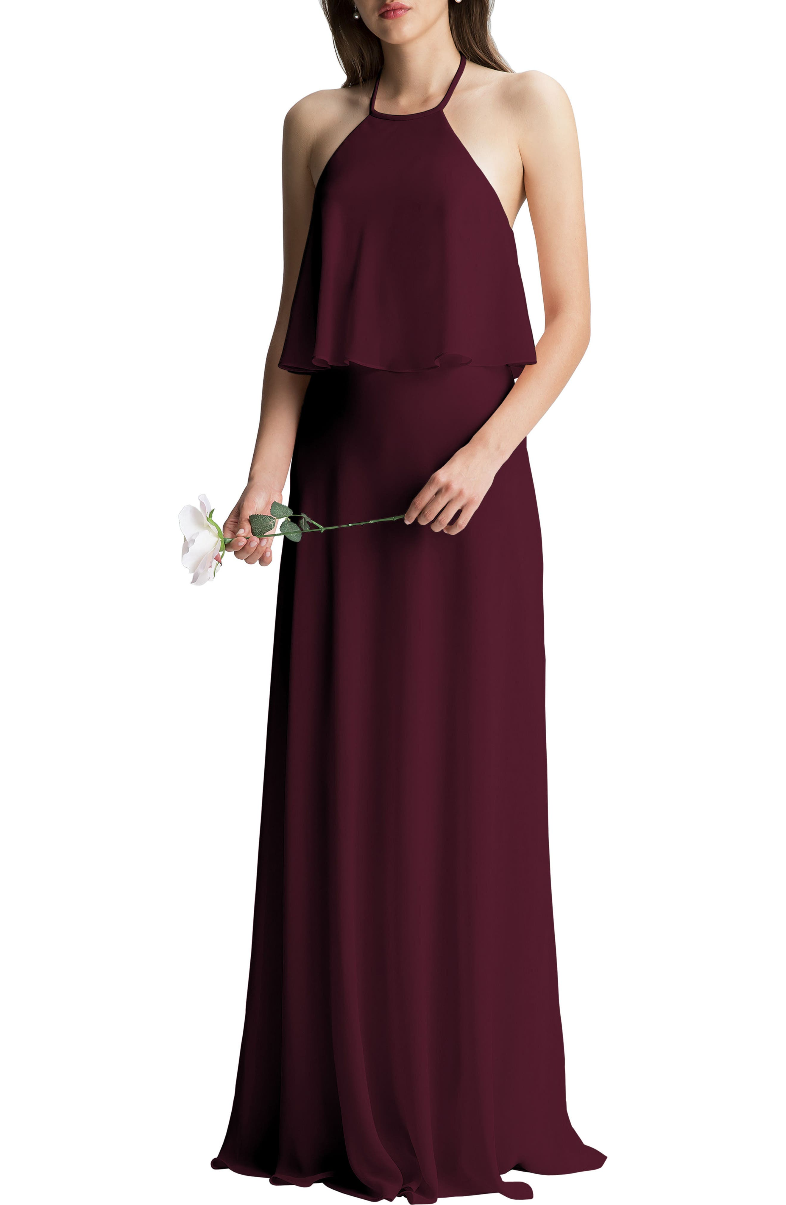 #LEVKOFF Halter Overlay Chiffon Gown, Main, color, WINE