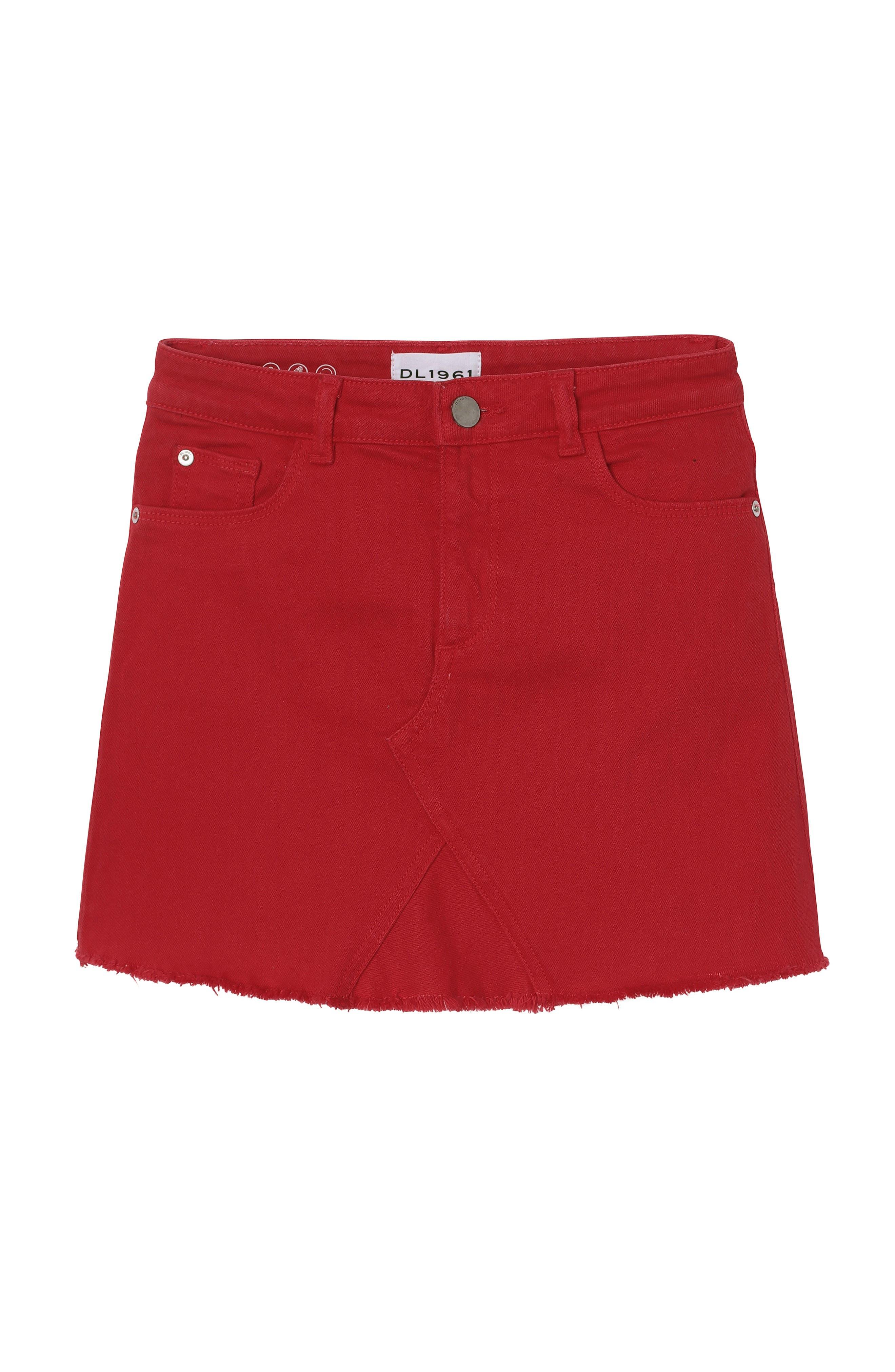 DL1961, Raw Hem Denim Miniskirt, Main thumbnail 1, color, VERY CHERRY