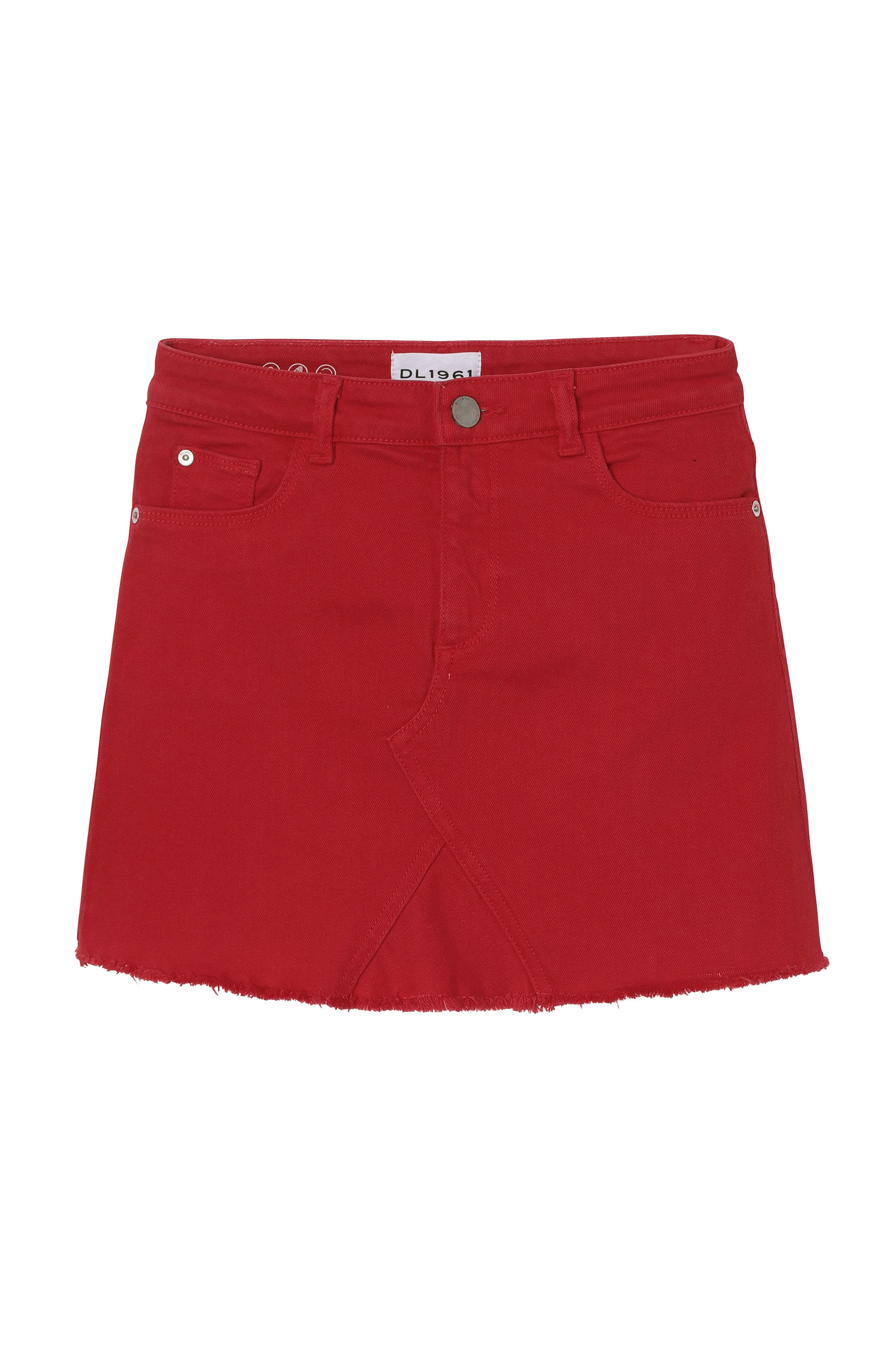 DL1961 Raw Hem Denim Miniskirt, Main, color, VERY CHERRY
