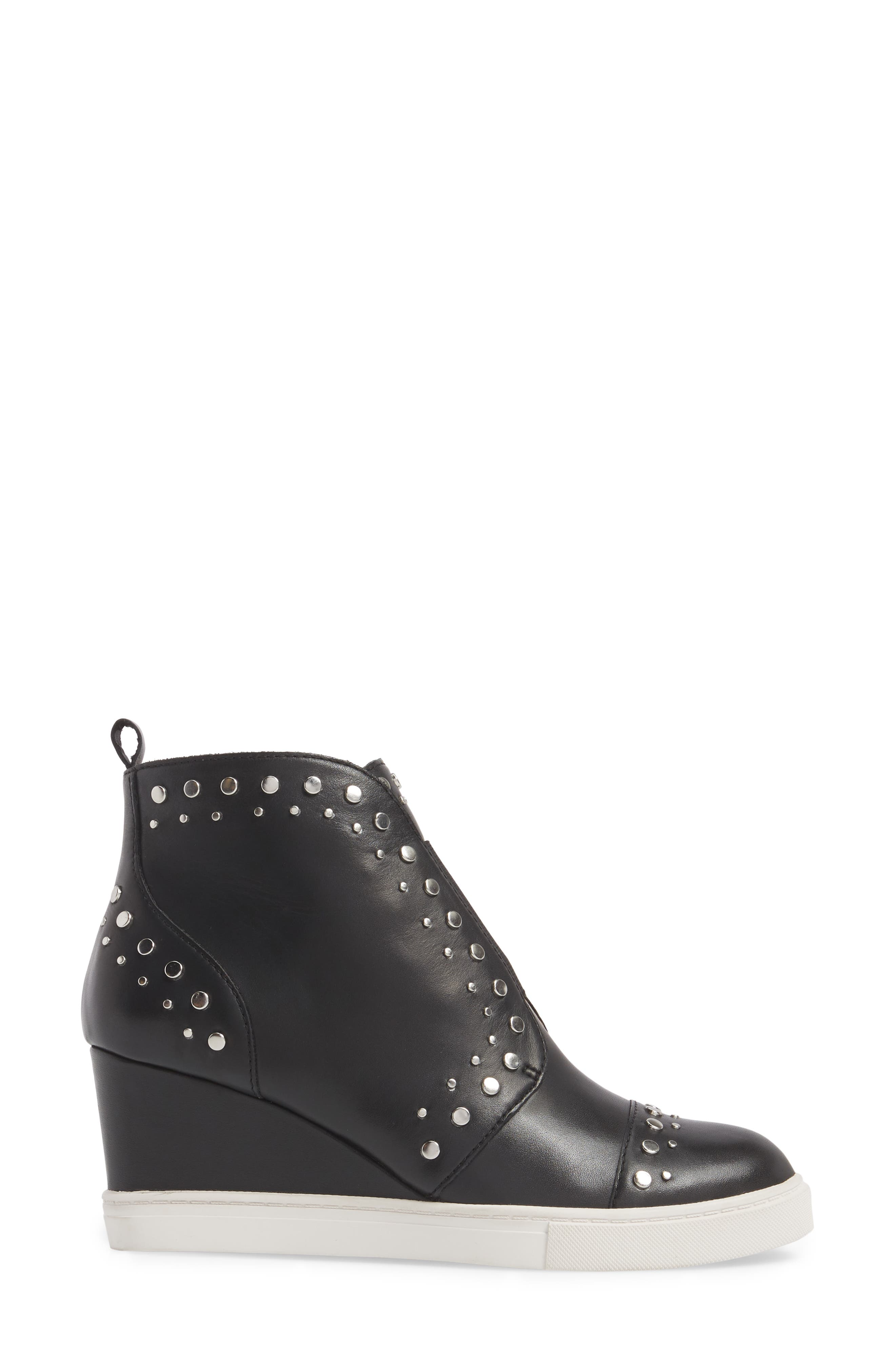 LINEA PAOLO, Felicity Wedge Sneaker, Alternate thumbnail 3, color, BLACK LEATHER