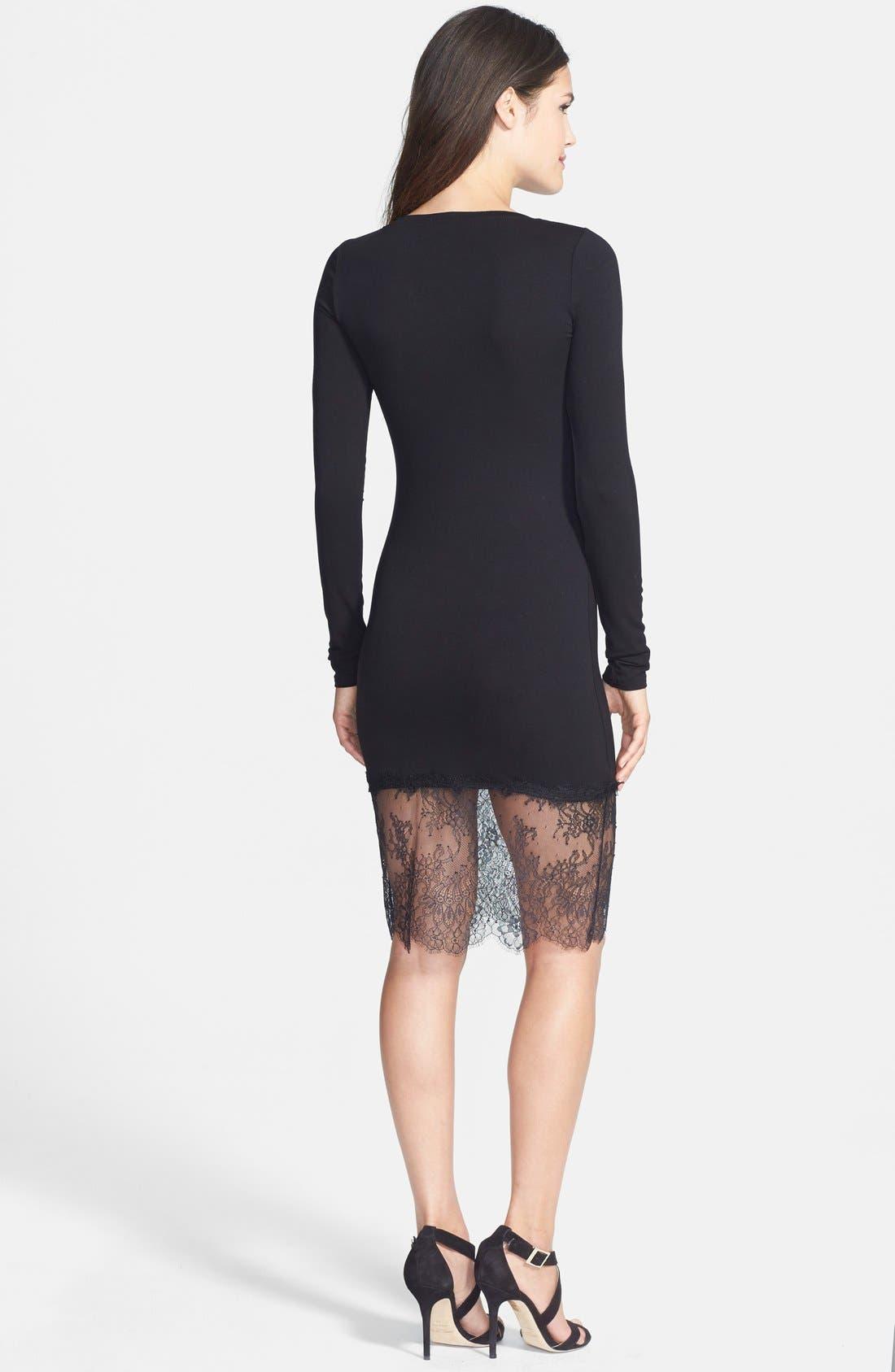 BCBGMAXAZRIA, 'Livi' Lace & Jersey Knit Sheath Dress, Alternate thumbnail 2, color, 001