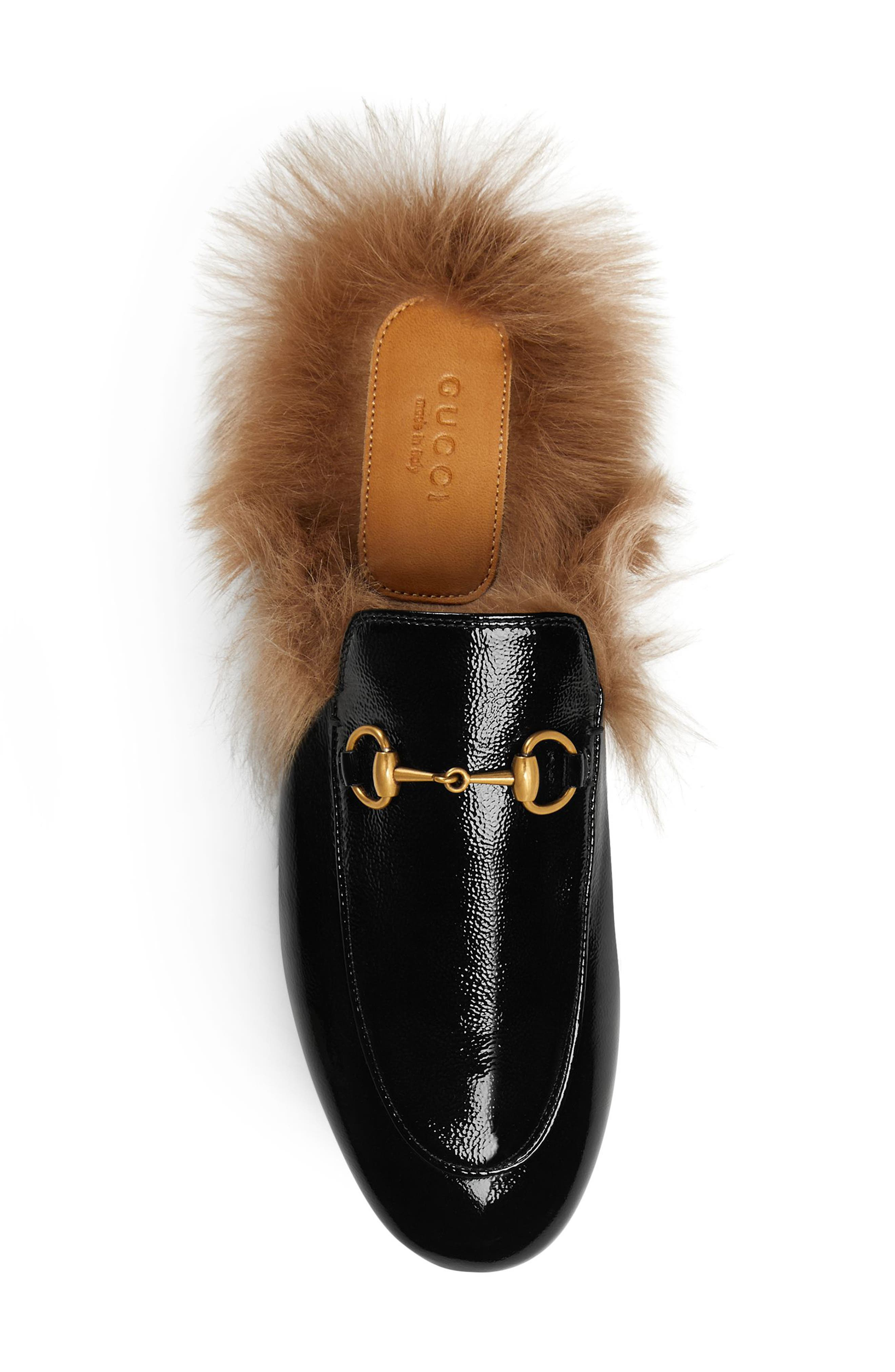 GUCCI, Princetown Genuine Shearling Loafer Mule, Alternate thumbnail 4, color, BLACK PATENT