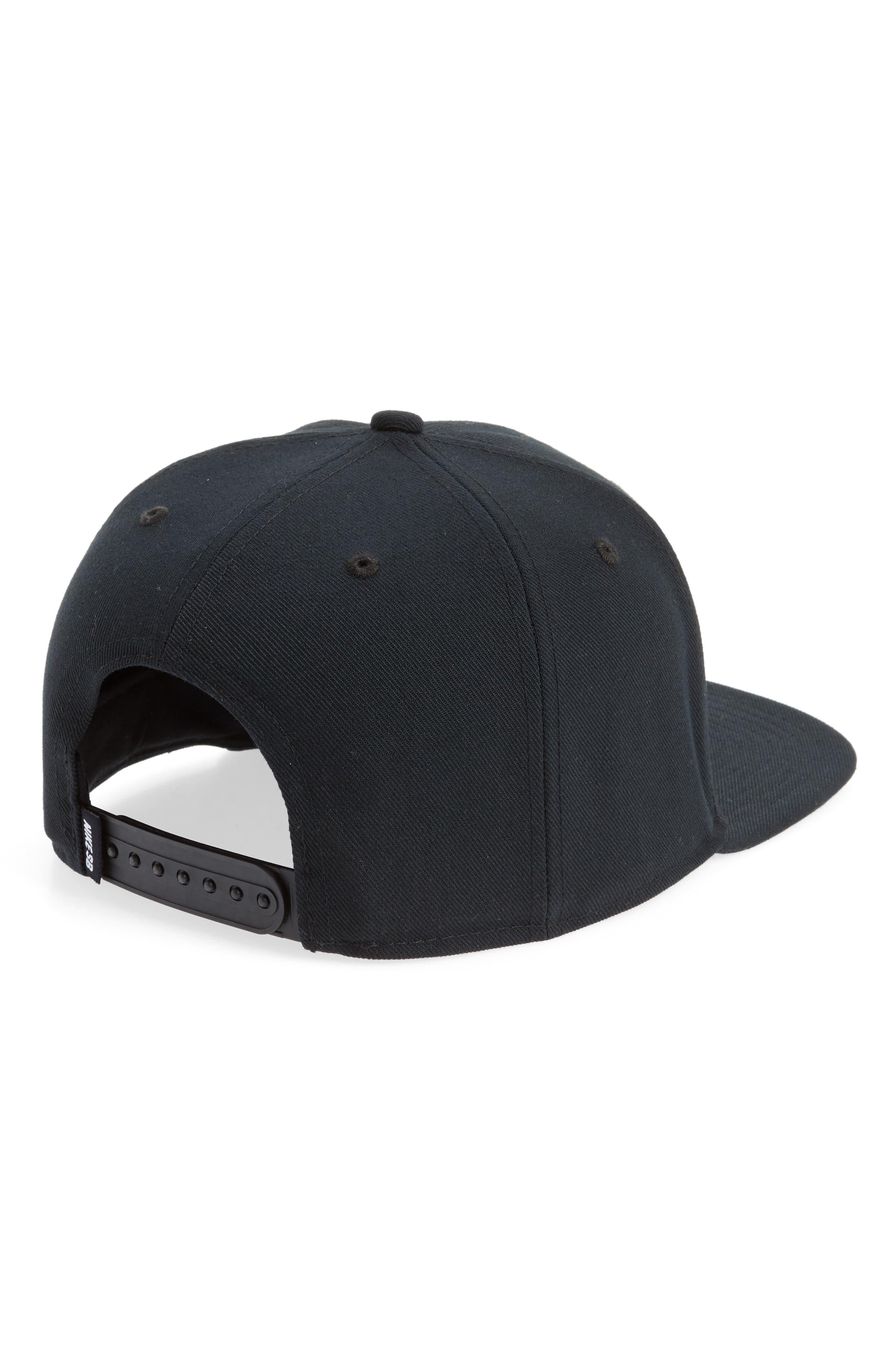 NIKE SB, Nike Pro Snapback Baseball Cap, Alternate thumbnail 2, color, BLACK/ BLACK/ BLACK/ WHITE